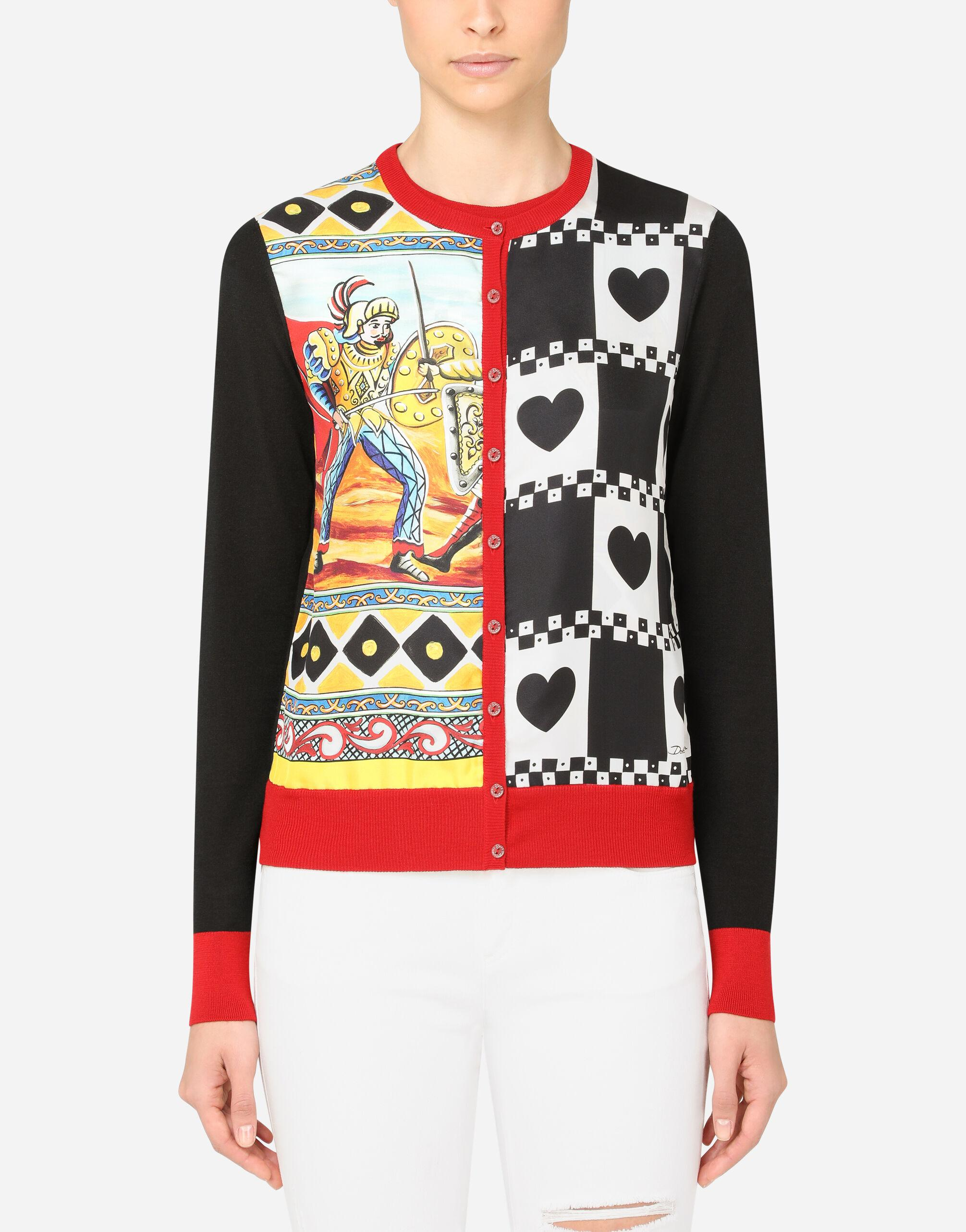 Cashmere and silk cardigan with patchwork print