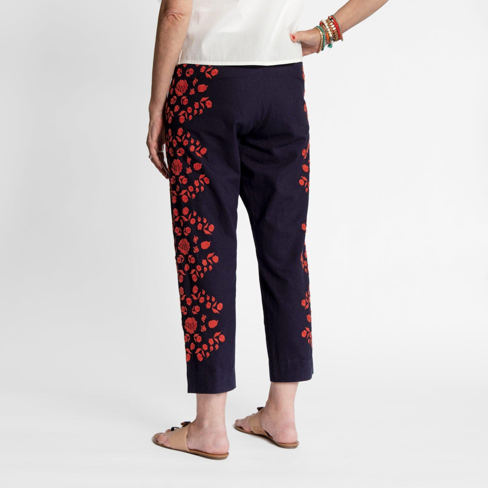 Floral Embroidered Pant Navy Red 2