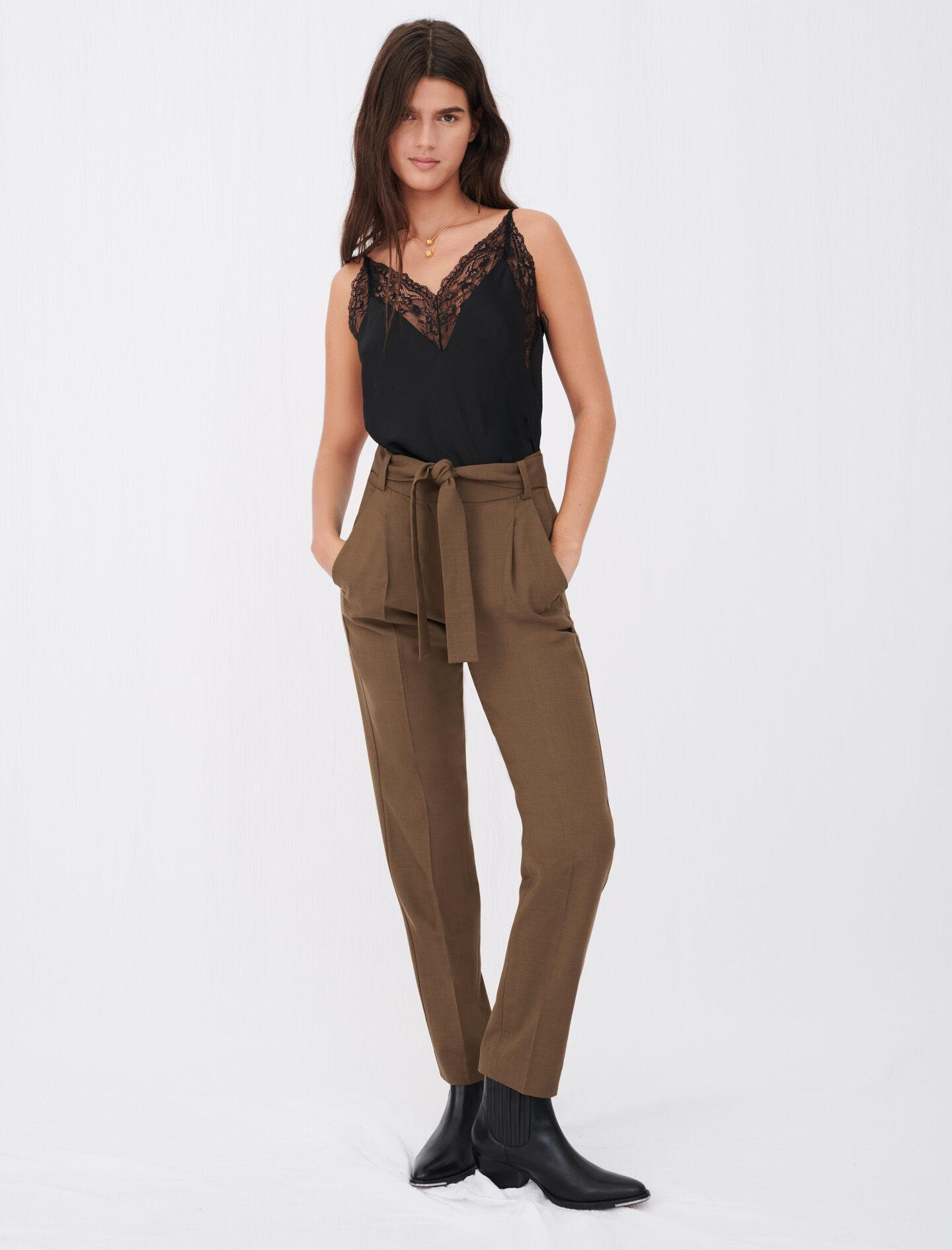 STRAIGHT-CUT BELTED SUIT PANTS