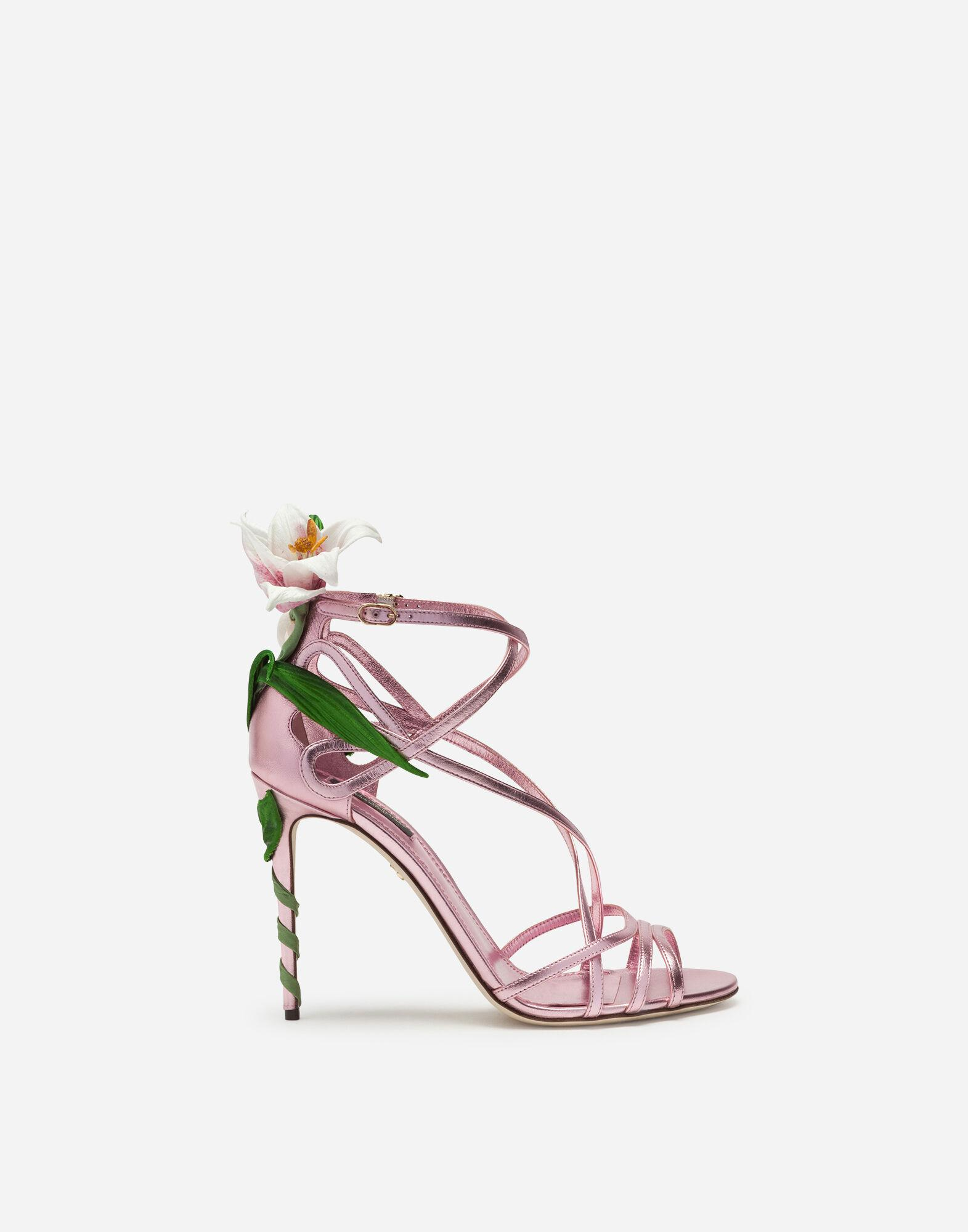 Mordore nappa sandals with lily embroidery