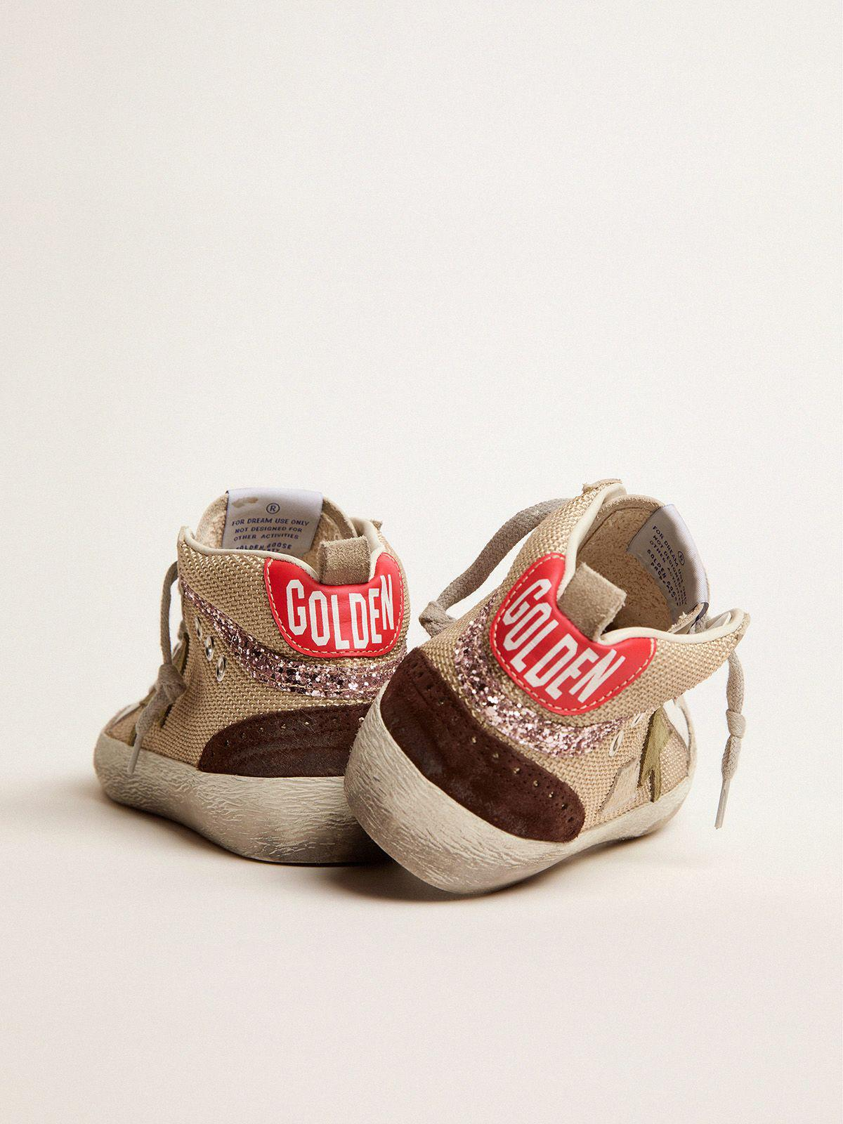 Mid Star sneakers in cream-colored mesh with suede and glitter details 3