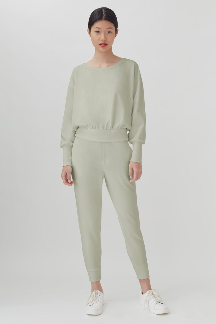 Women's French Terry Boatneck Sweatshirt in Sage | Size: 1