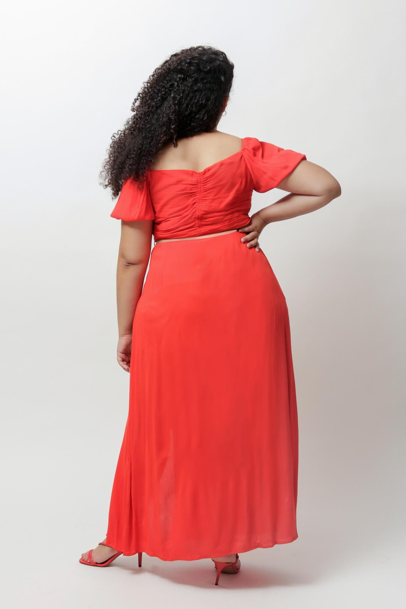 Fiery Red Cindy Crop Top and Skirt Two Piece Set 5
