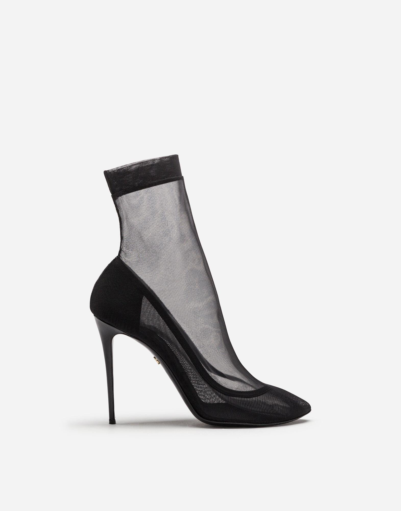 Stretch tulle and patent leather booties