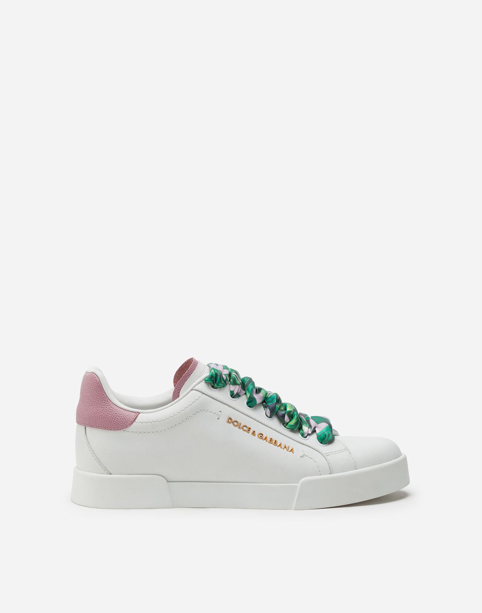 Portofino sneakers in nappa calfskin with lettering and printed silk laces