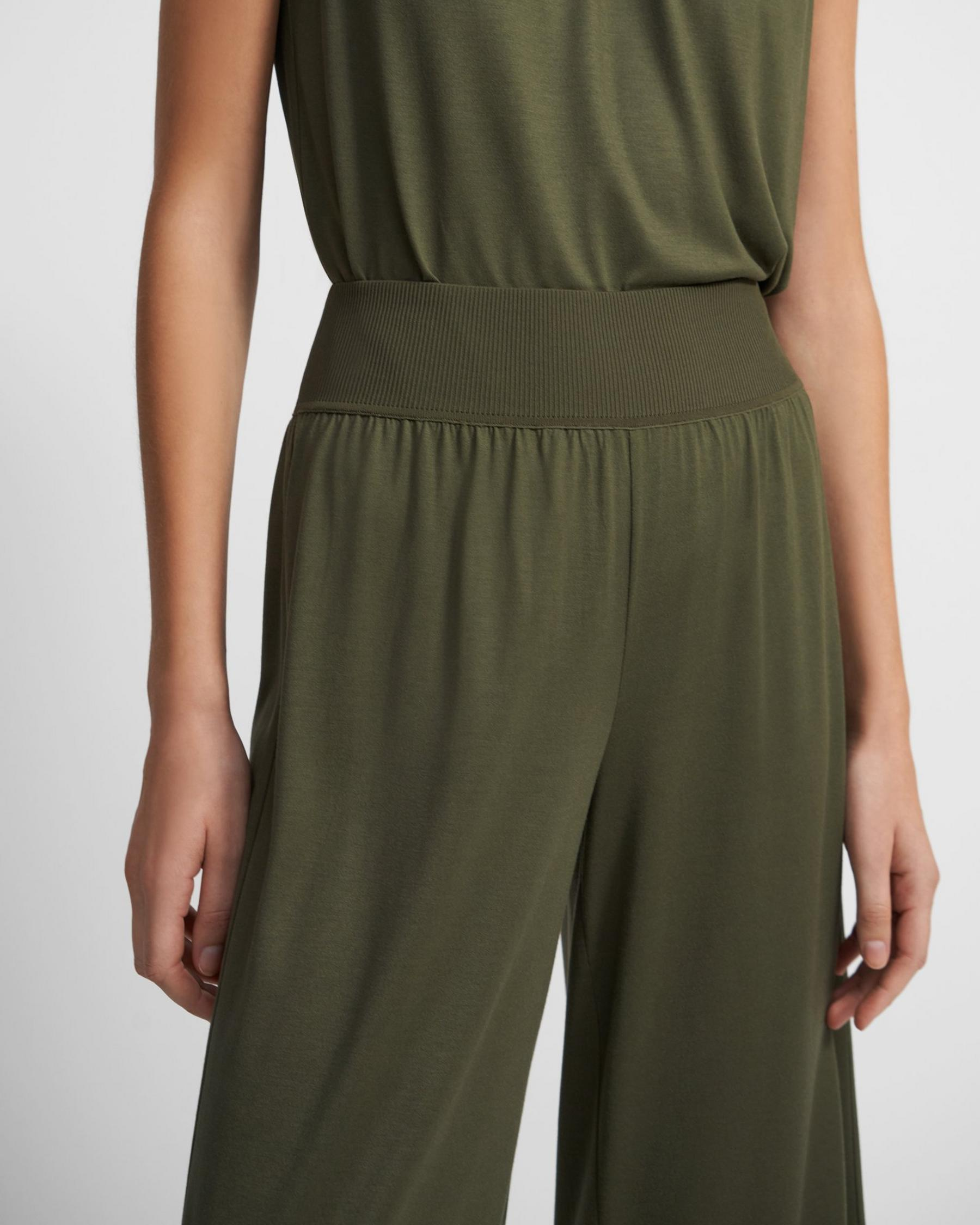 Ribbed Waist Pant in Silk Jersey 1