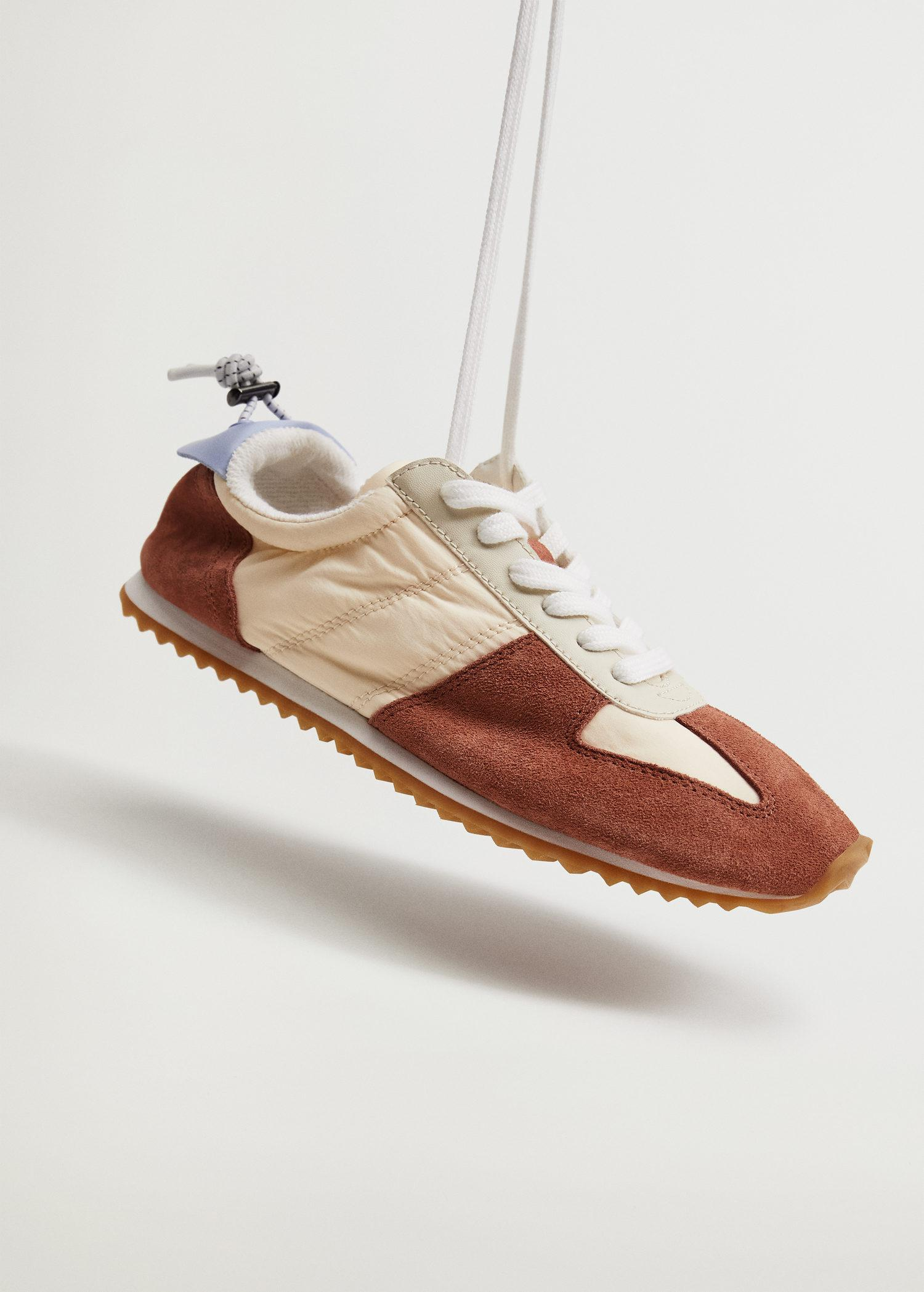 Leather mixed sneakers 2