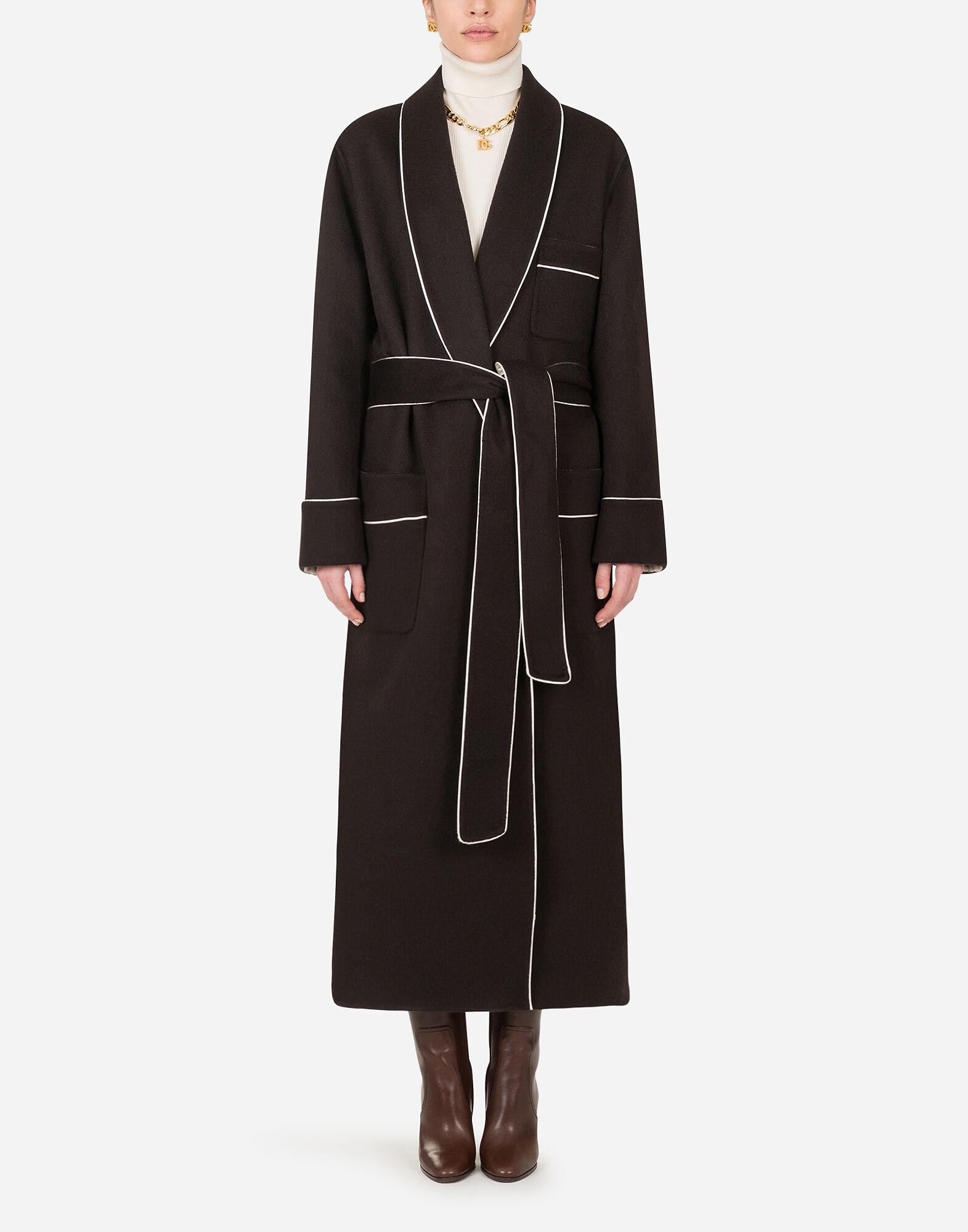 Robe-style jacket in doubled cashmere with belt