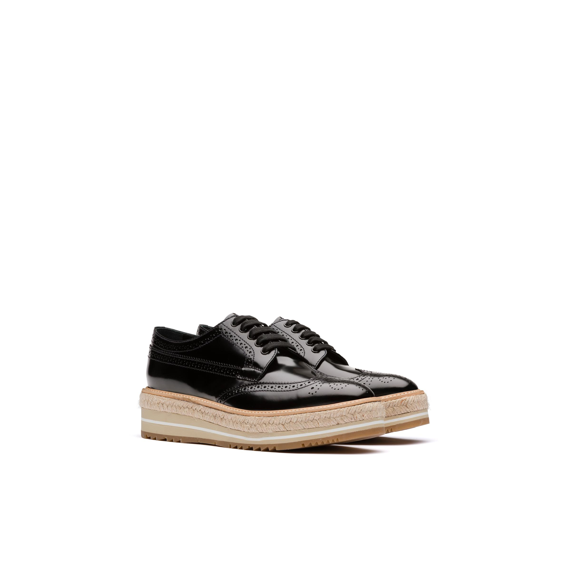 Microsole Brushed Leather Shoes Women Black