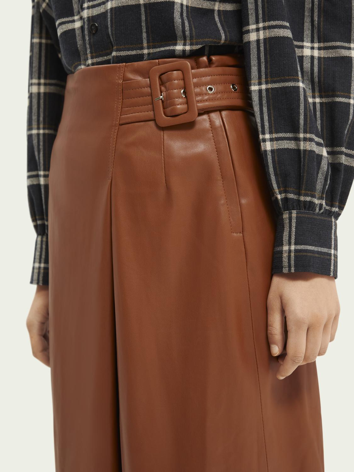Wrap-over faux leather skirt 6