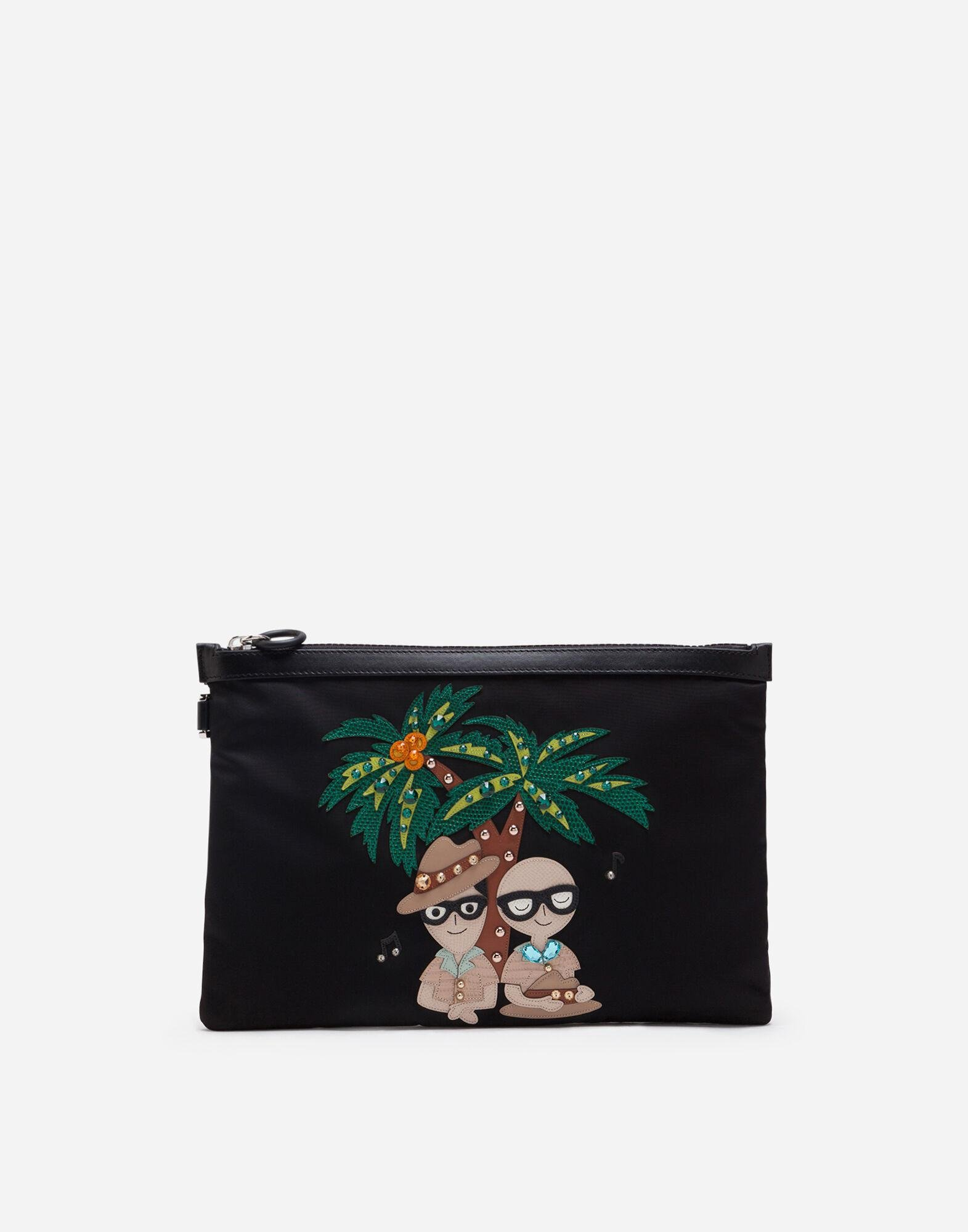 Dna clutch bag in nylon with tropical stylist patches