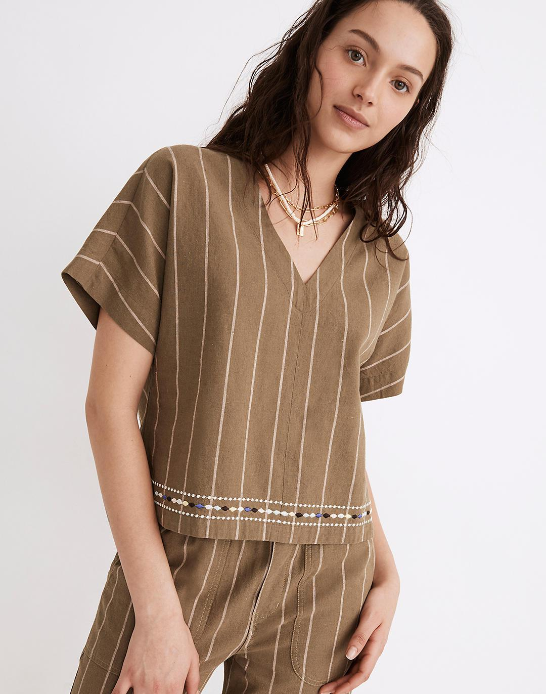 Embroidered Linen-Cotton V-Neck Top