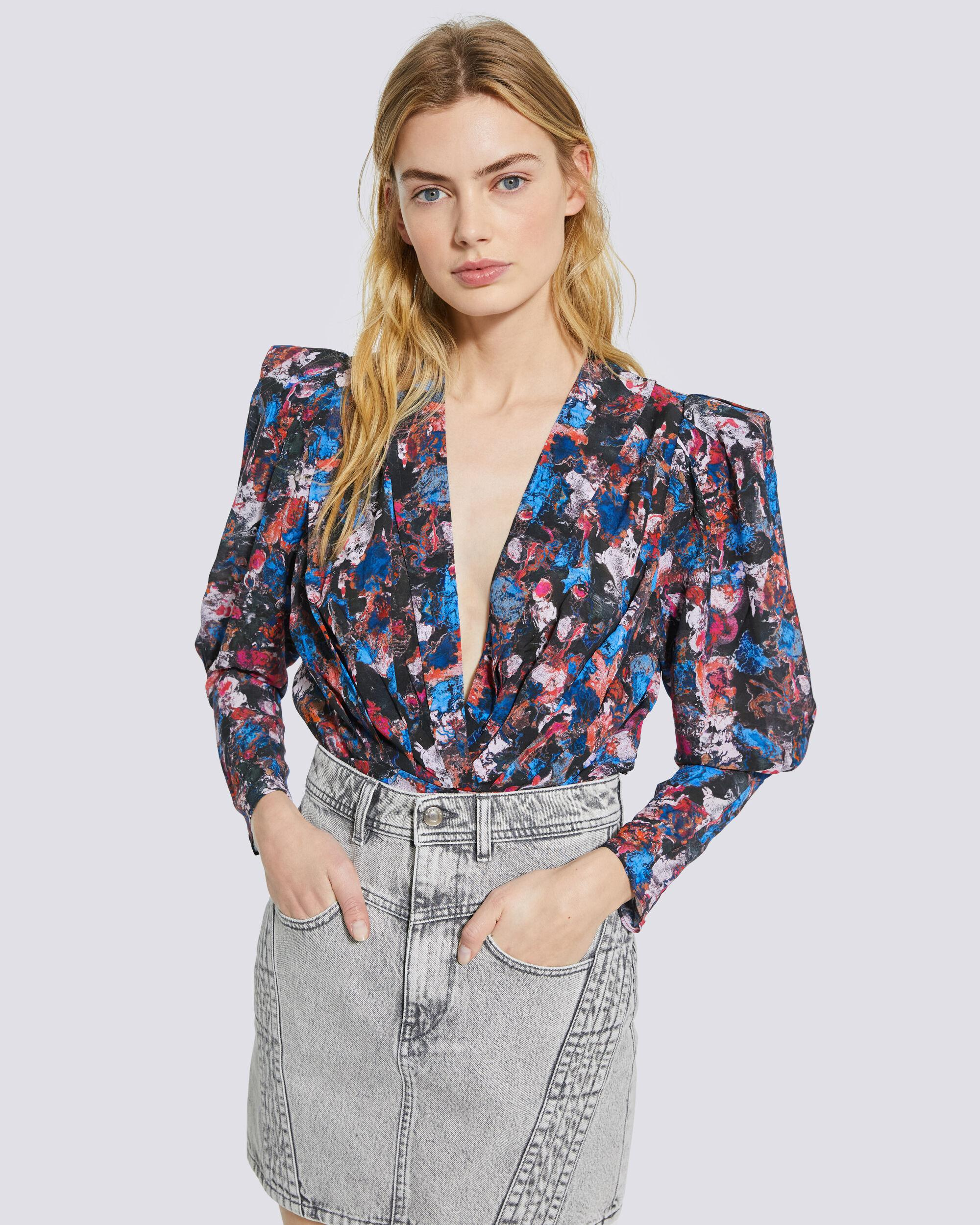 FORWIE FLORAL PRINTED DRAPED TOP 4