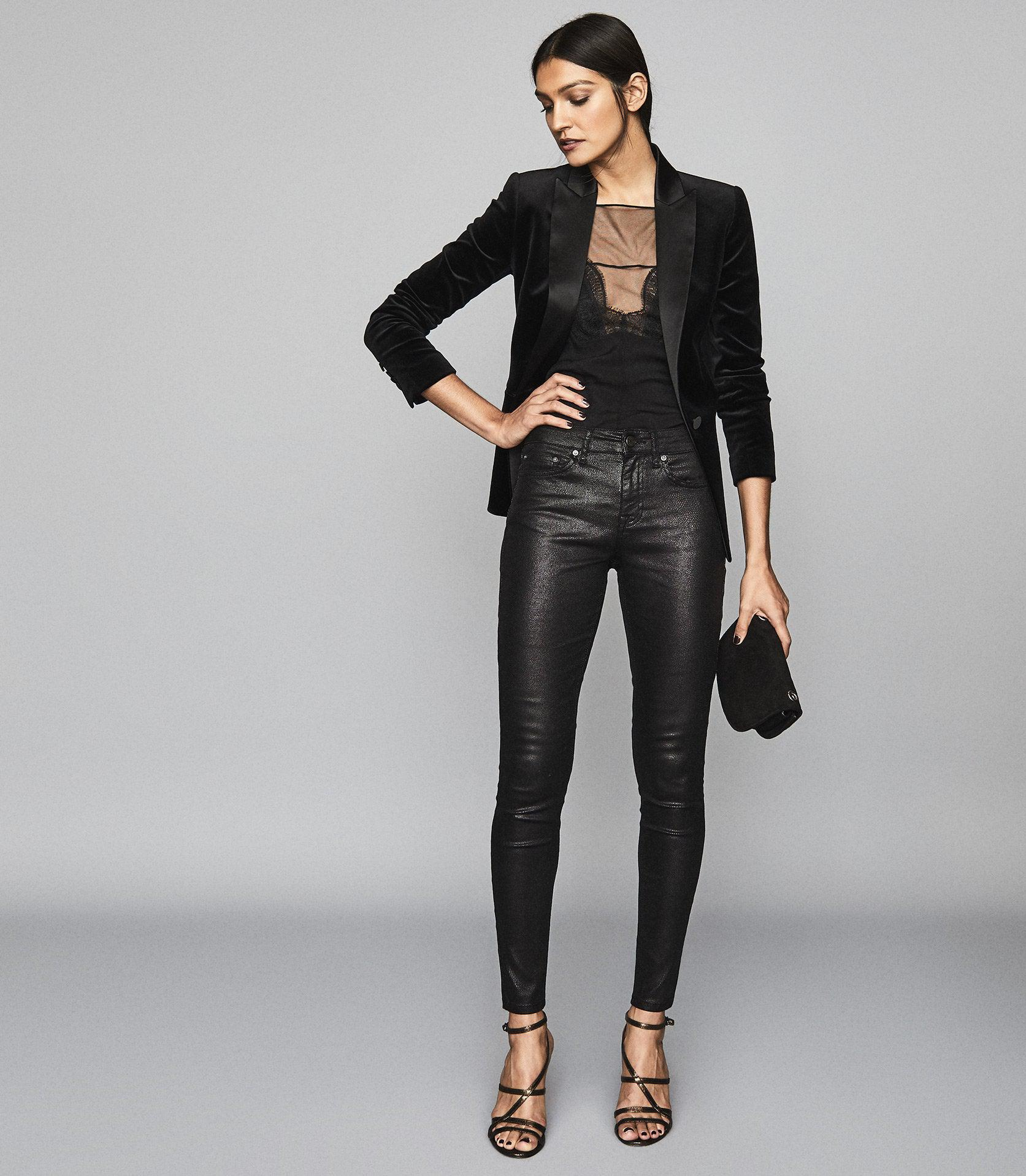 LUX SNAKE COATED - COATED MID RISE SKINNY JEANS