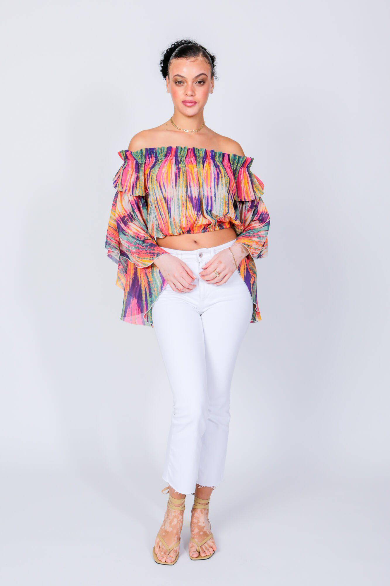 Bright Stripe Brittney Off The Shoulder Bell Sleeve Top