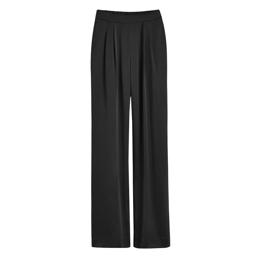Women's Charmeuse Wide-Leg Pant in Black | Size:
