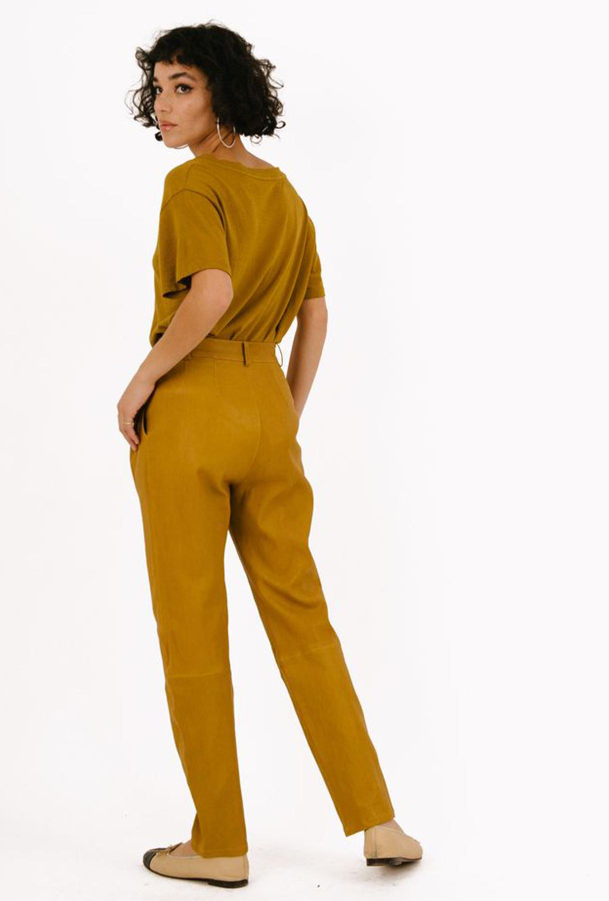 Moss Gold Leather Tailored Trouser 1