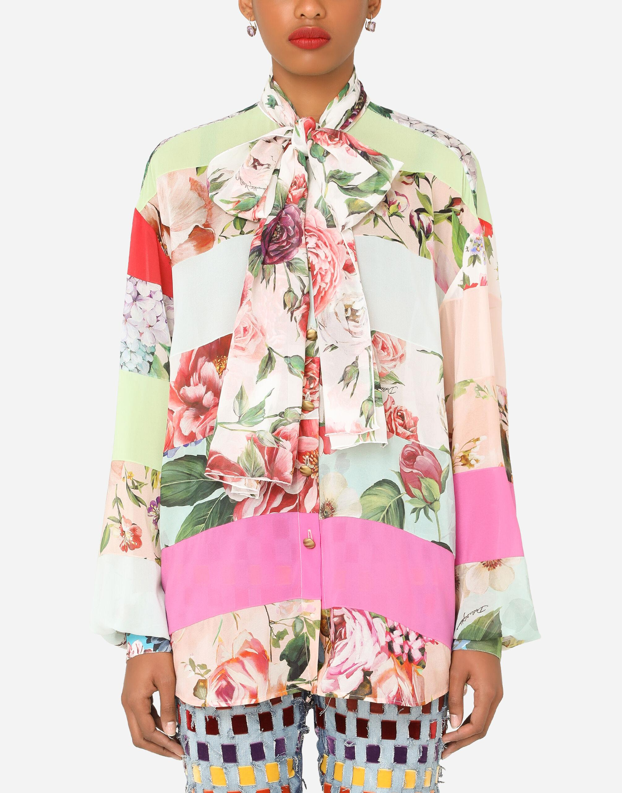 Georgette pussy-bow shirt with mixed prints