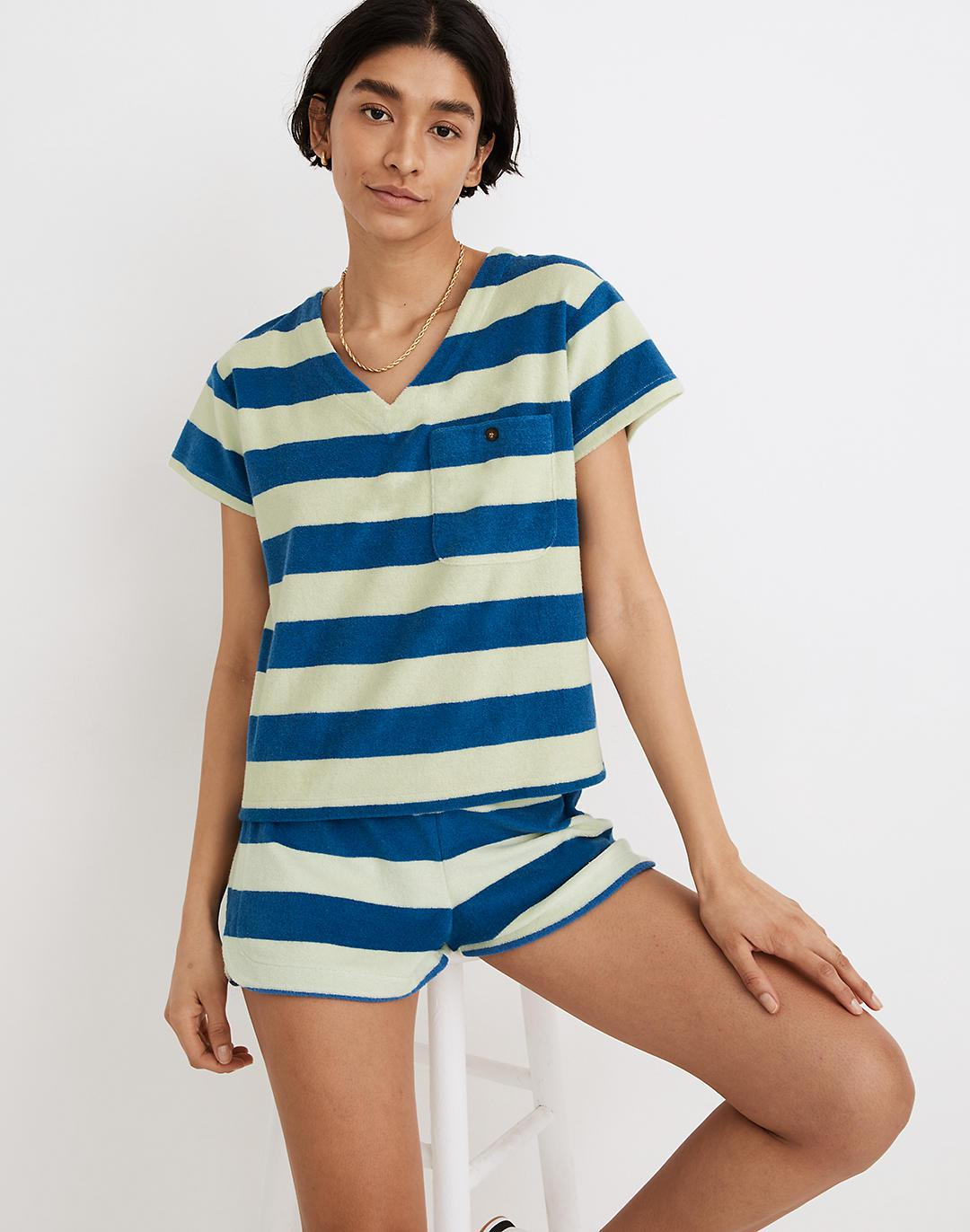 MWL Retroterry V-Neck Pocket Top in Rugby Stripe