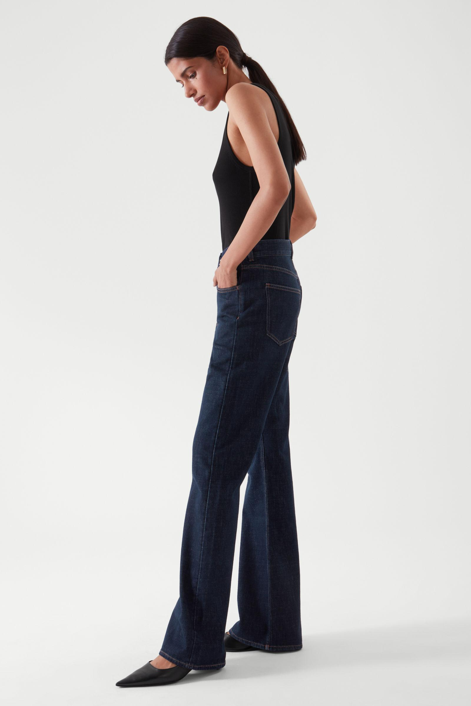 FLARED RECYCLED COTTON DENIM PANTS 3