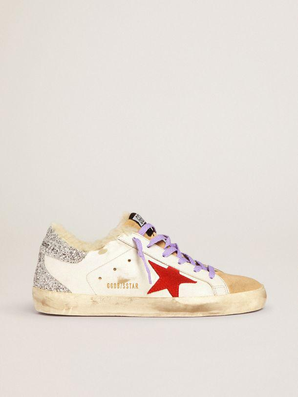 Super-Star sneakers with shearling lining and red suede star