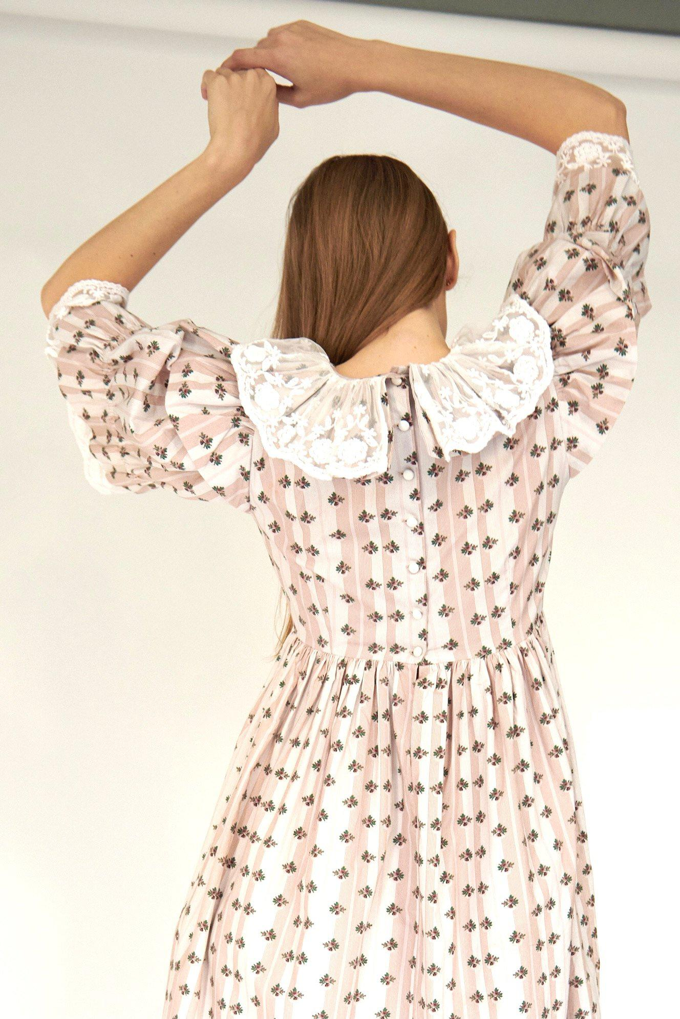 Chamomile Dress in Blush Striped Floral 1