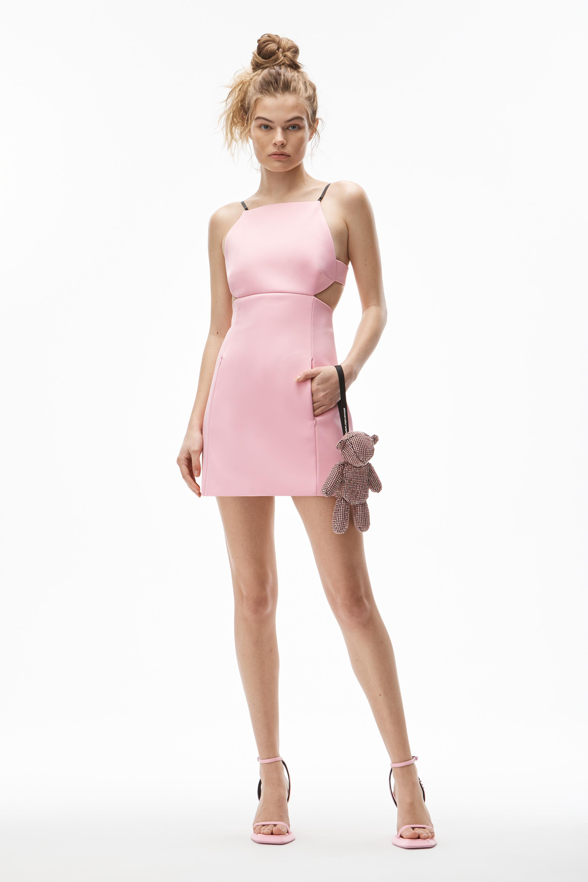cutout dress with charms in heavy satin
