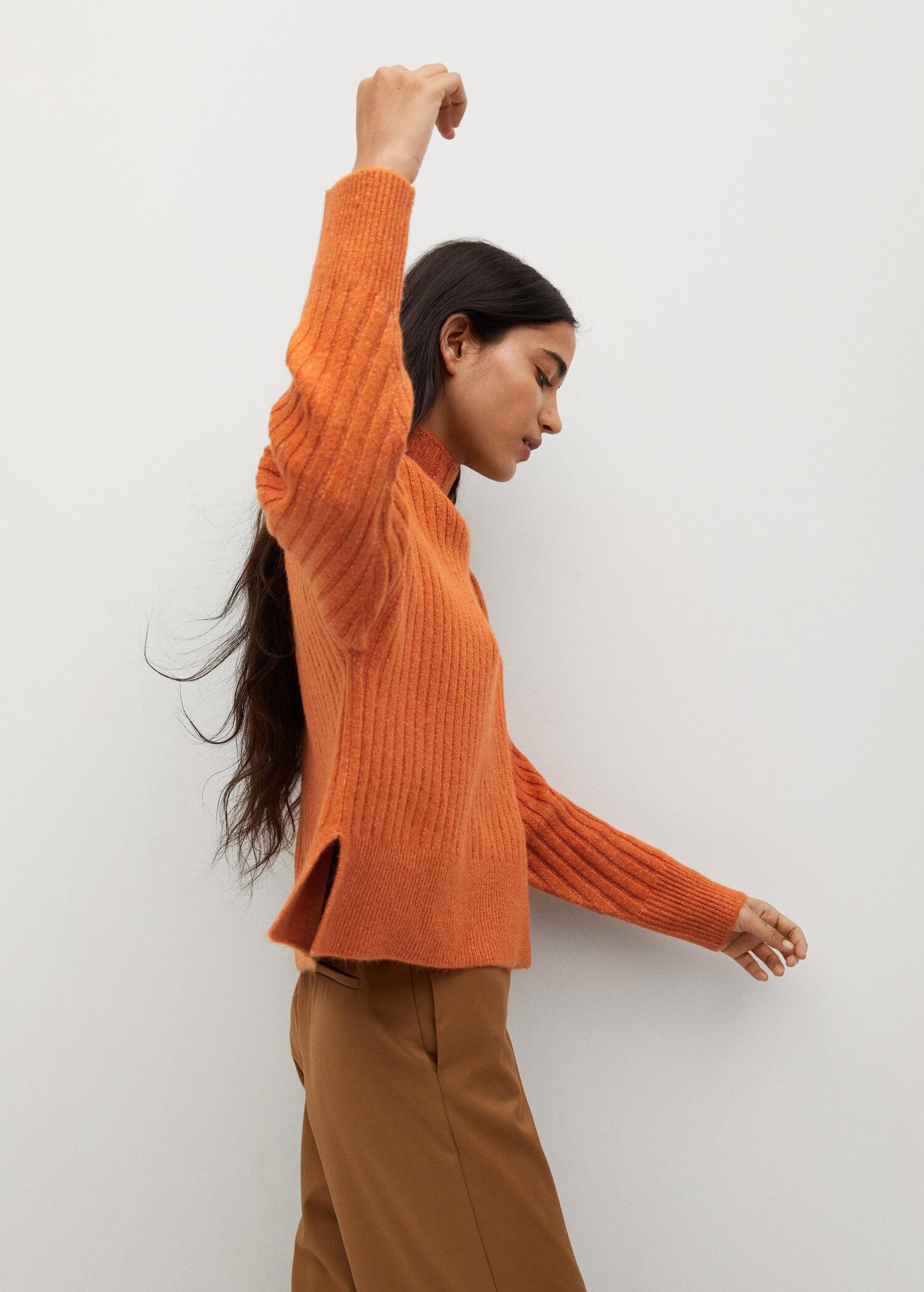 High collar ribbed knit sweater 5