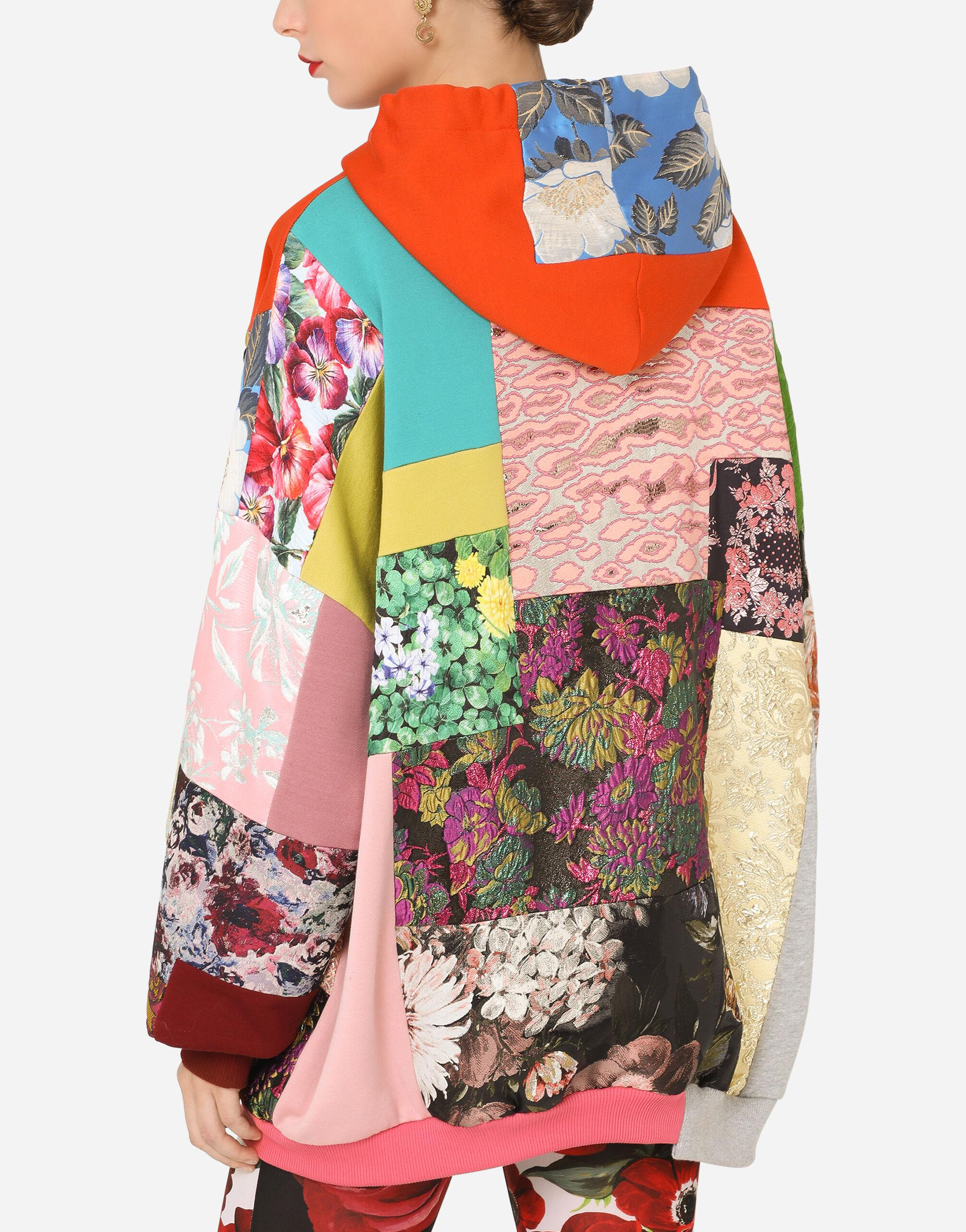 Patchwork jersey hoodie with DG embroidery 3