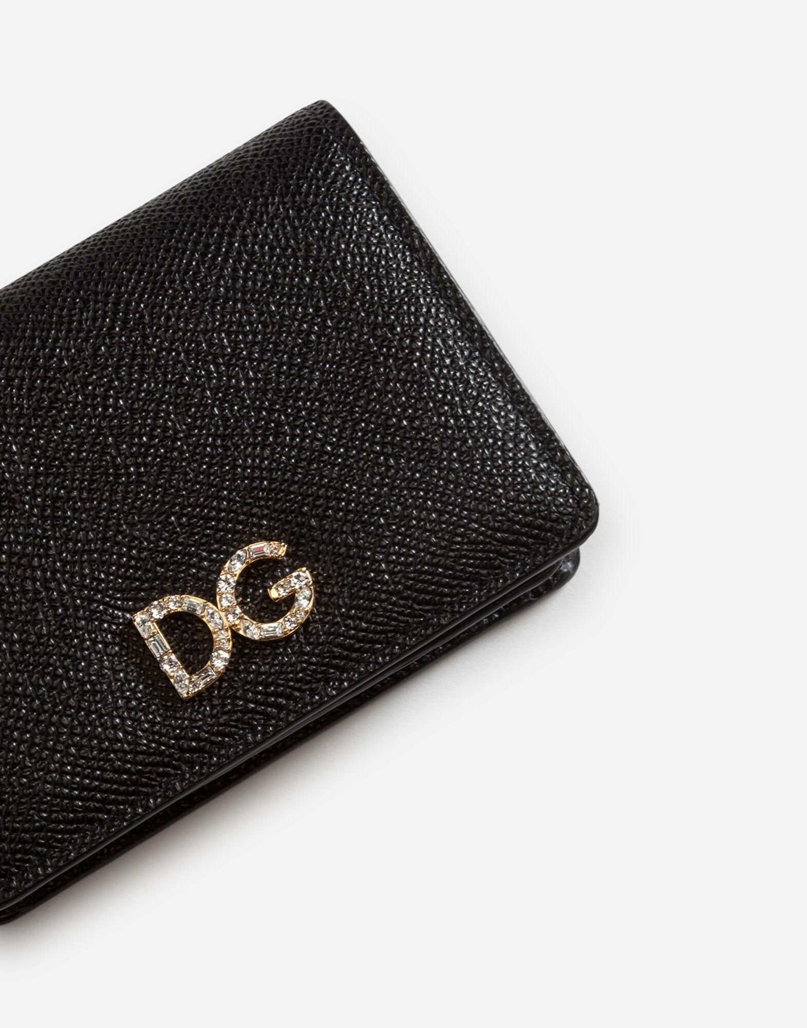 Card holder in laminate dauphine calfskin with logo crystals 3