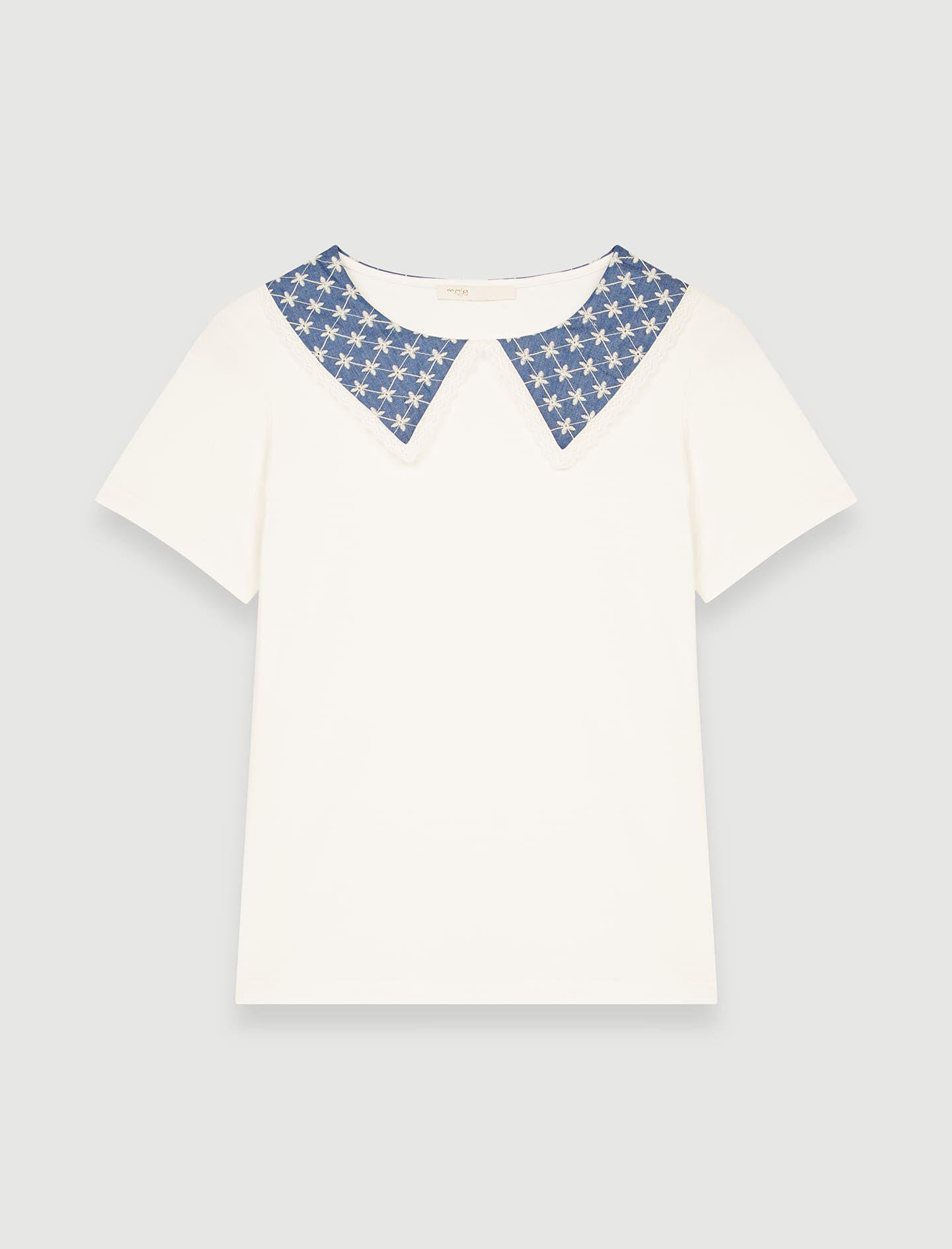 JERSEY T-SHIRT WITH EMBROIDERED COLLAR 5