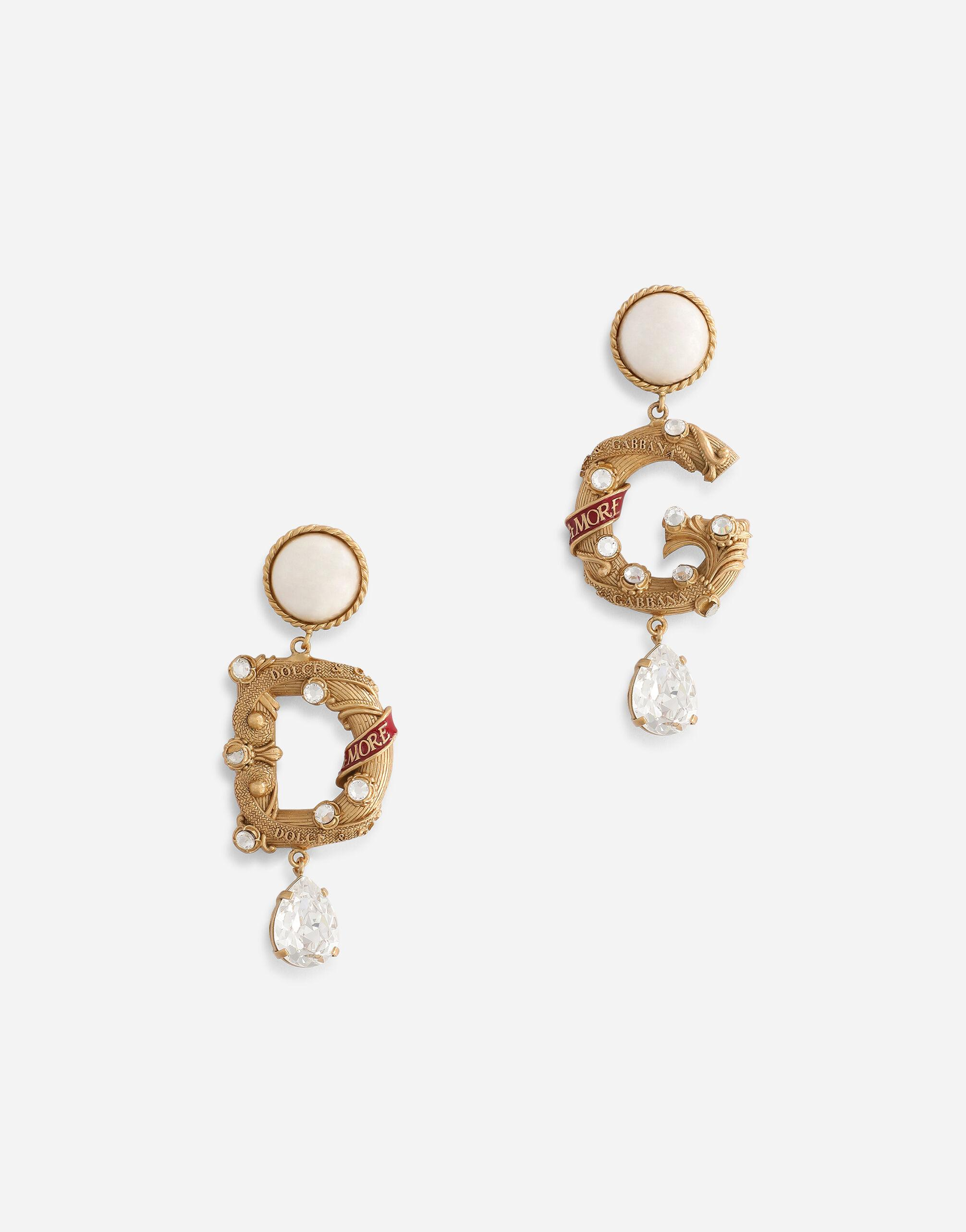 Hook earrings with rhinestone decorative elements and DG logo