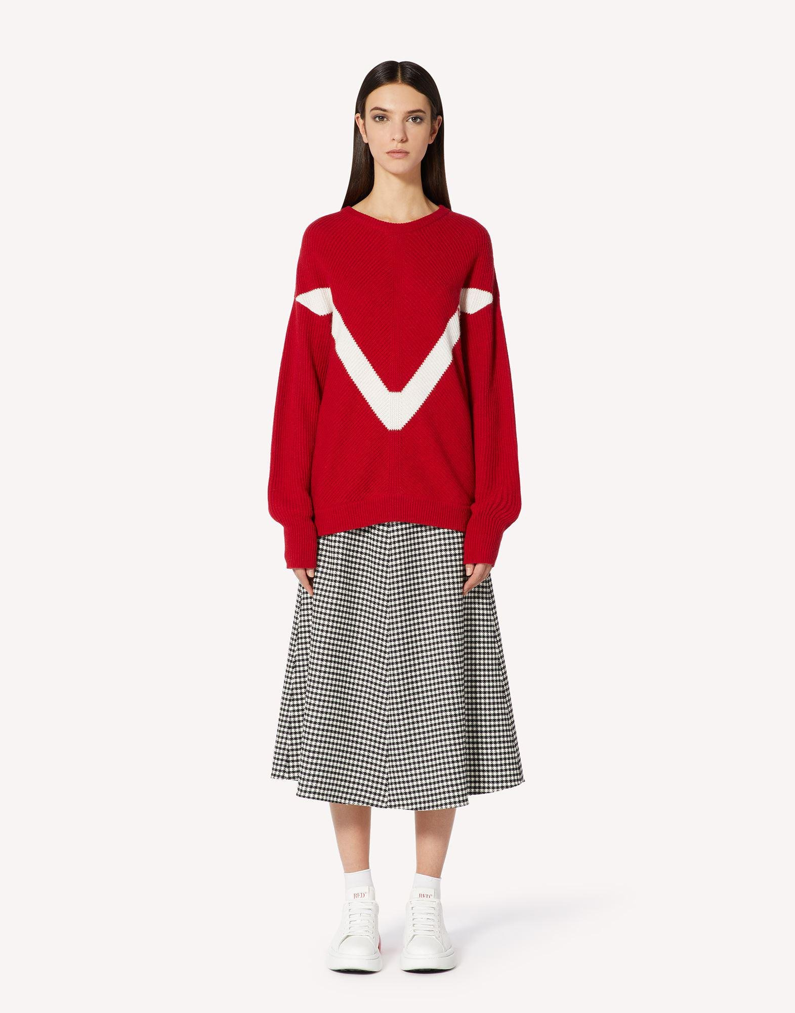 RED EMBROIDERED WOOL-BLEND SWEATER