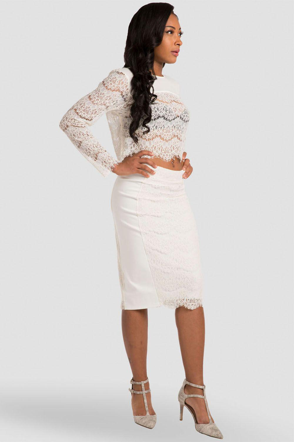 Tori Ivory Pencil Skirt in Ponte and Lace