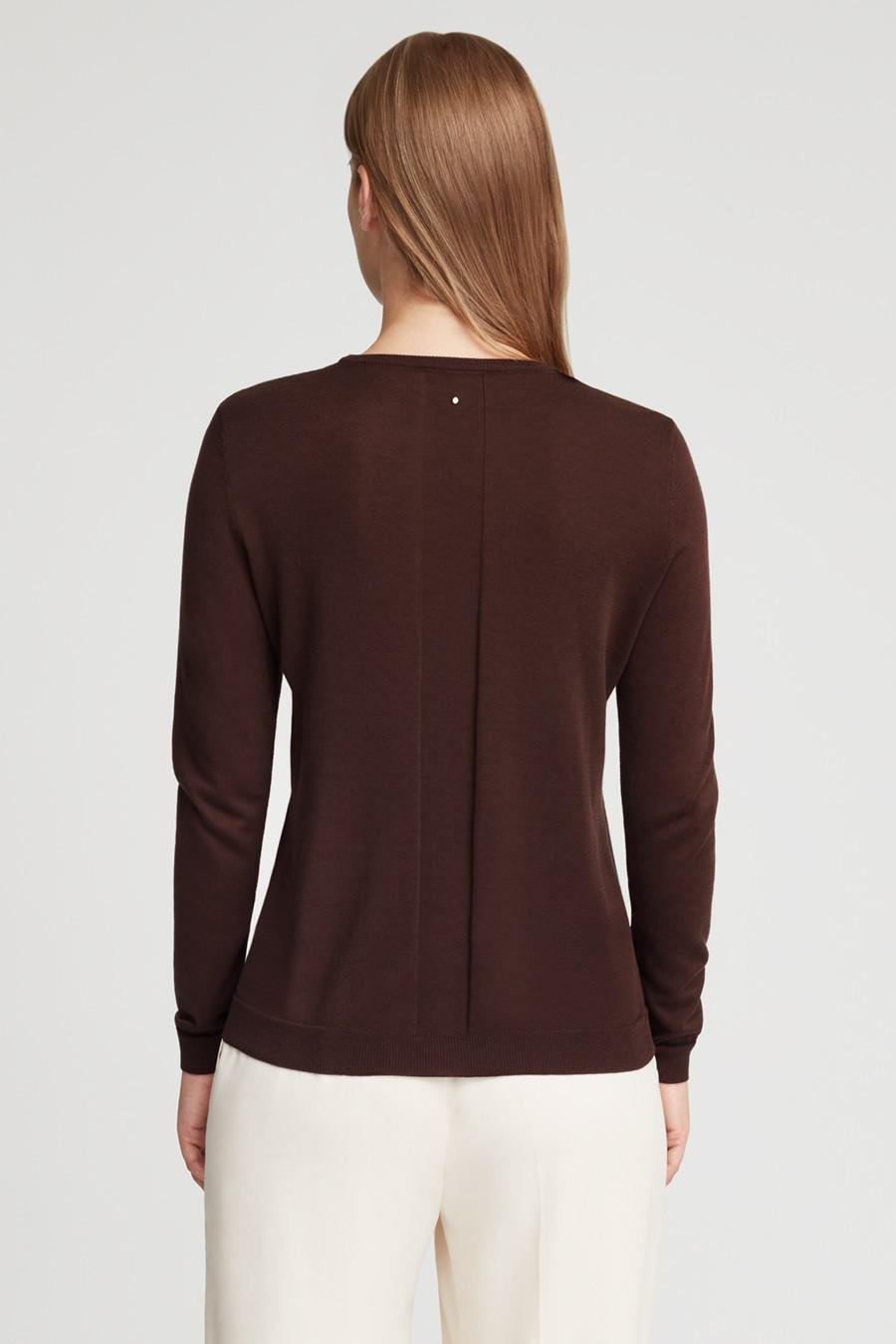 Women's Classic Cotton Cashmere Crewneck Sweater in Chocolate | Size: 2