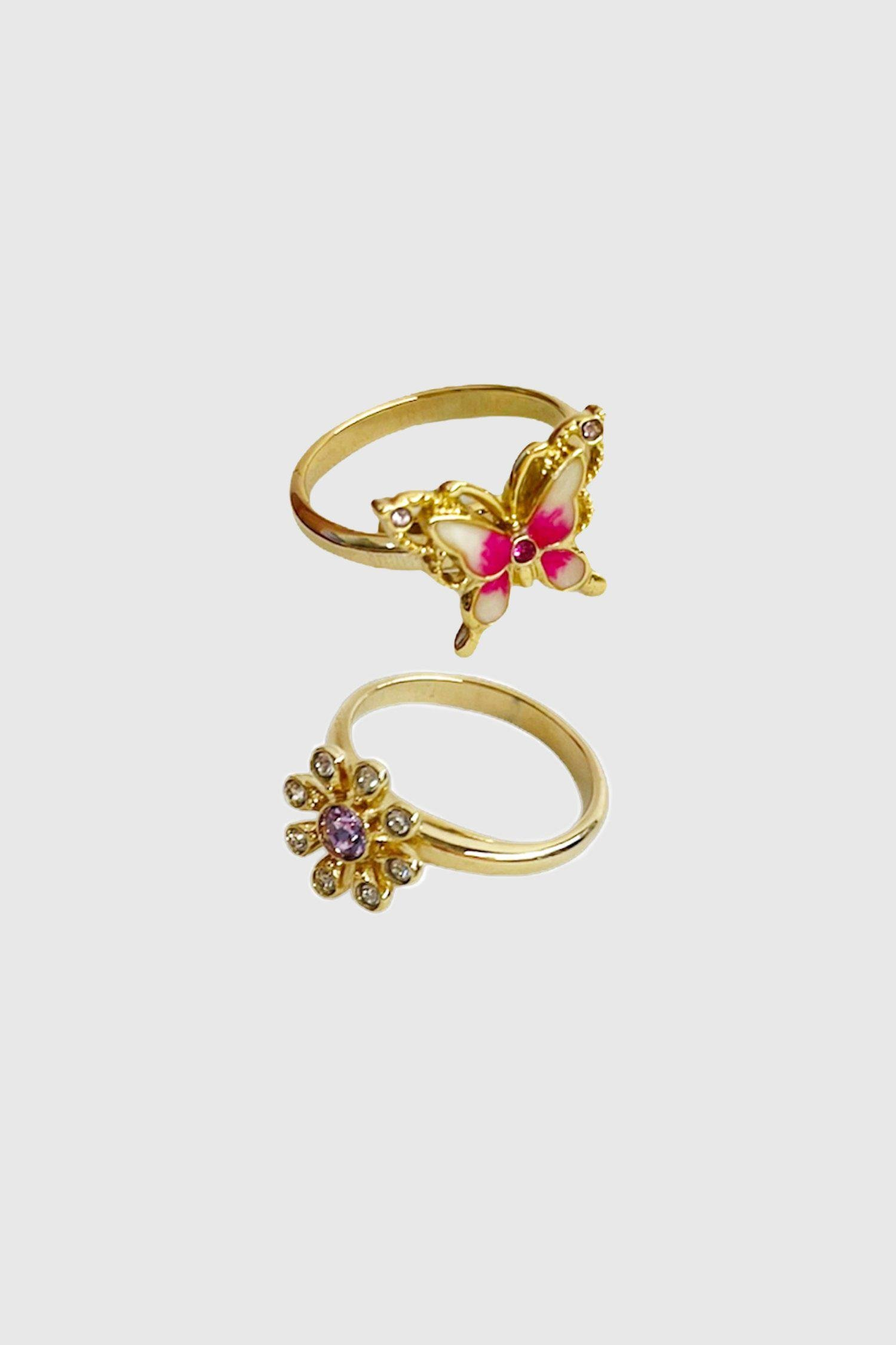 Crystal Flower and Butterfly Ring Set