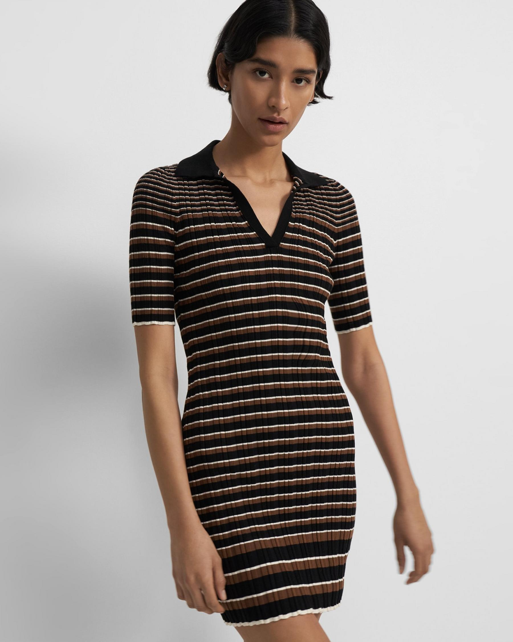 Ribbed Stripe Dress in Cotton