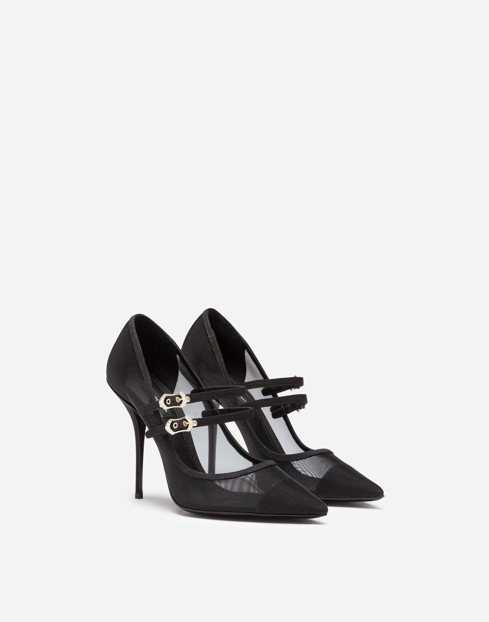 Pumps in mesh and grosgrain with two straps 1