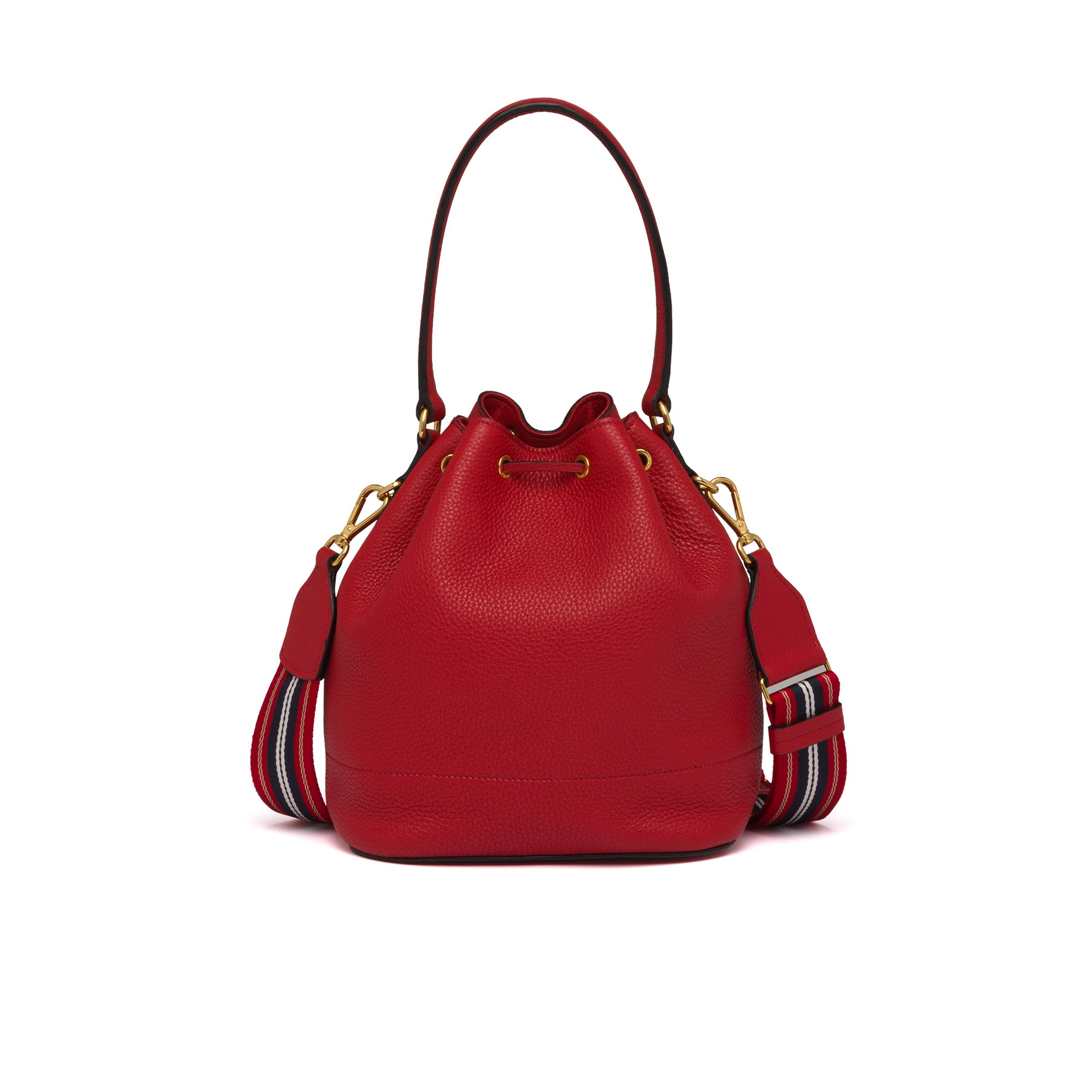 Leather Bucket Bag Women Red D 3