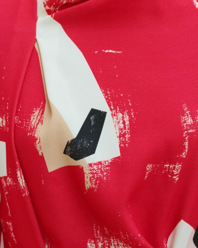 Veronica Top Red Abstract Print - SPECIAL PRICE 1