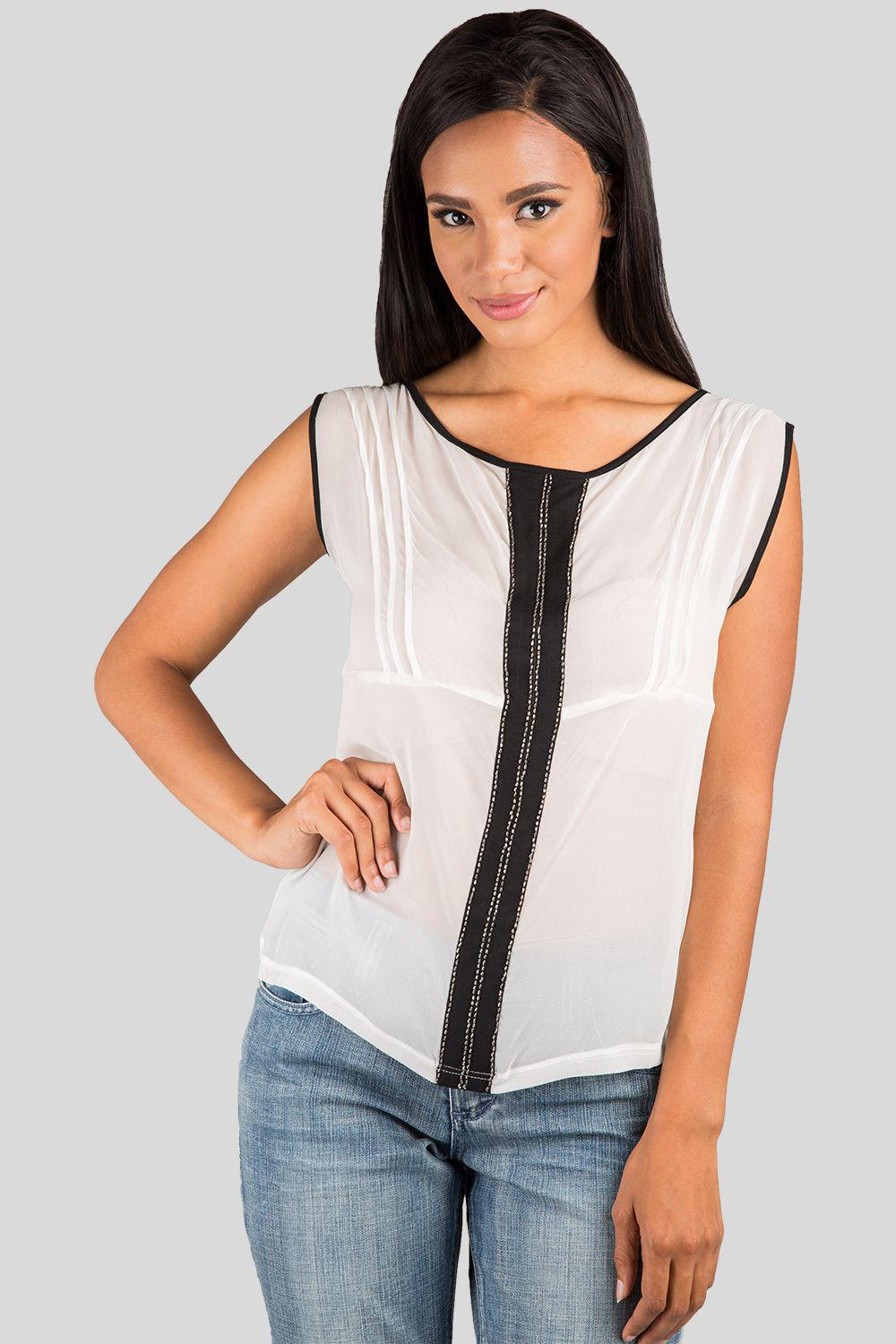Coco Ivory Black Bead And Pintuck French Top Silk Blouse