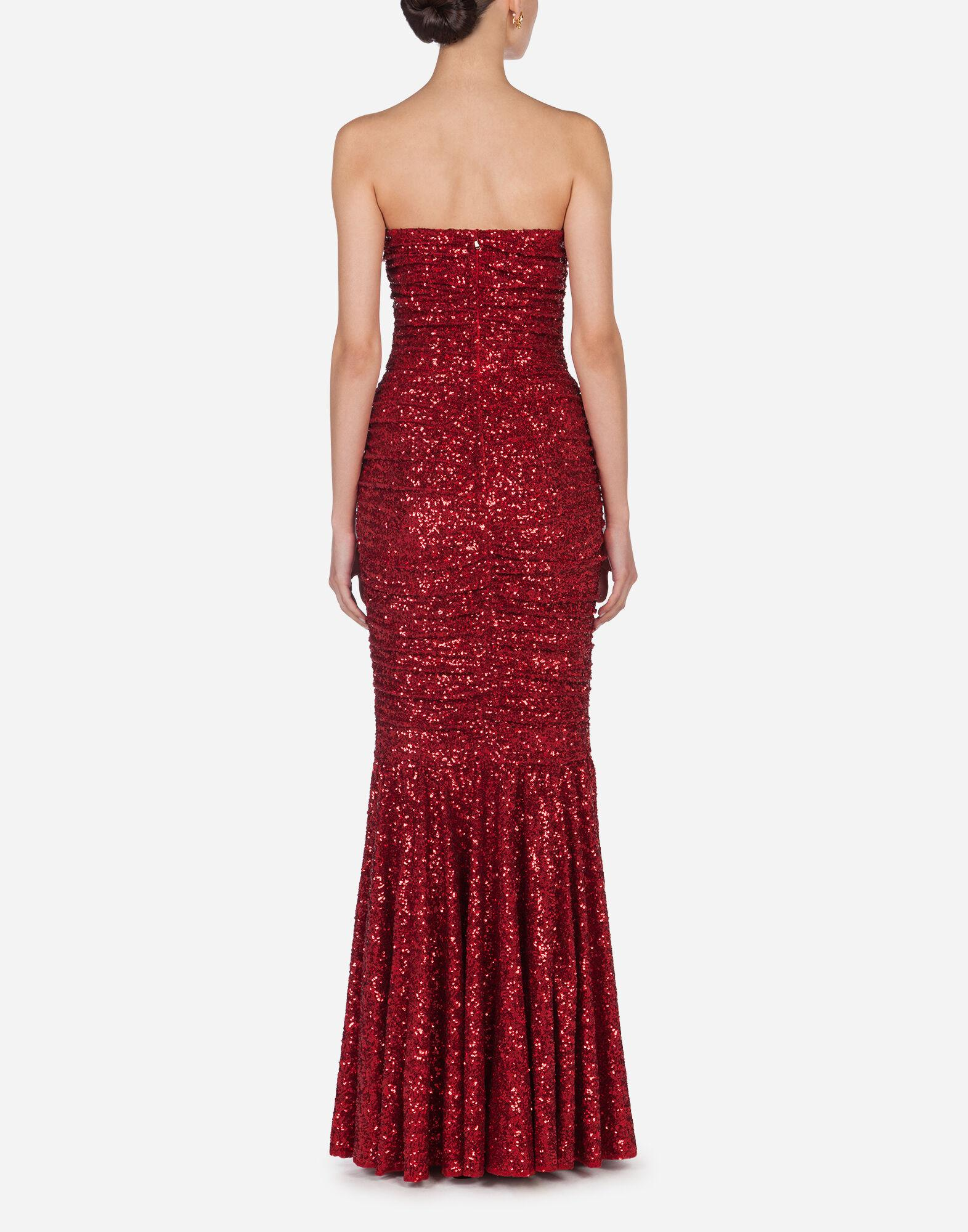 Long dress draped in sequins 1