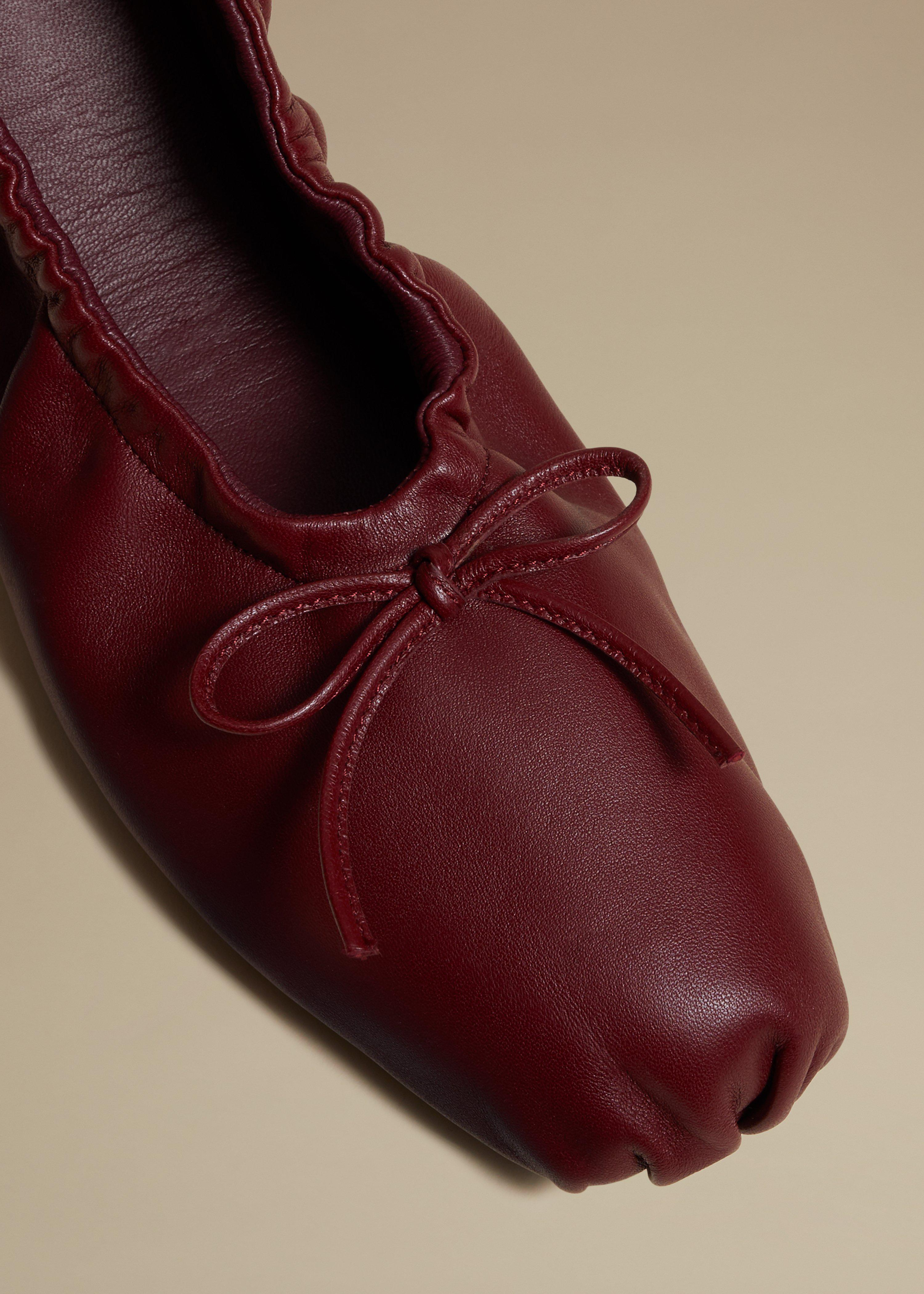 The Ashland Ballet Flat in Bordeaux Leather 3