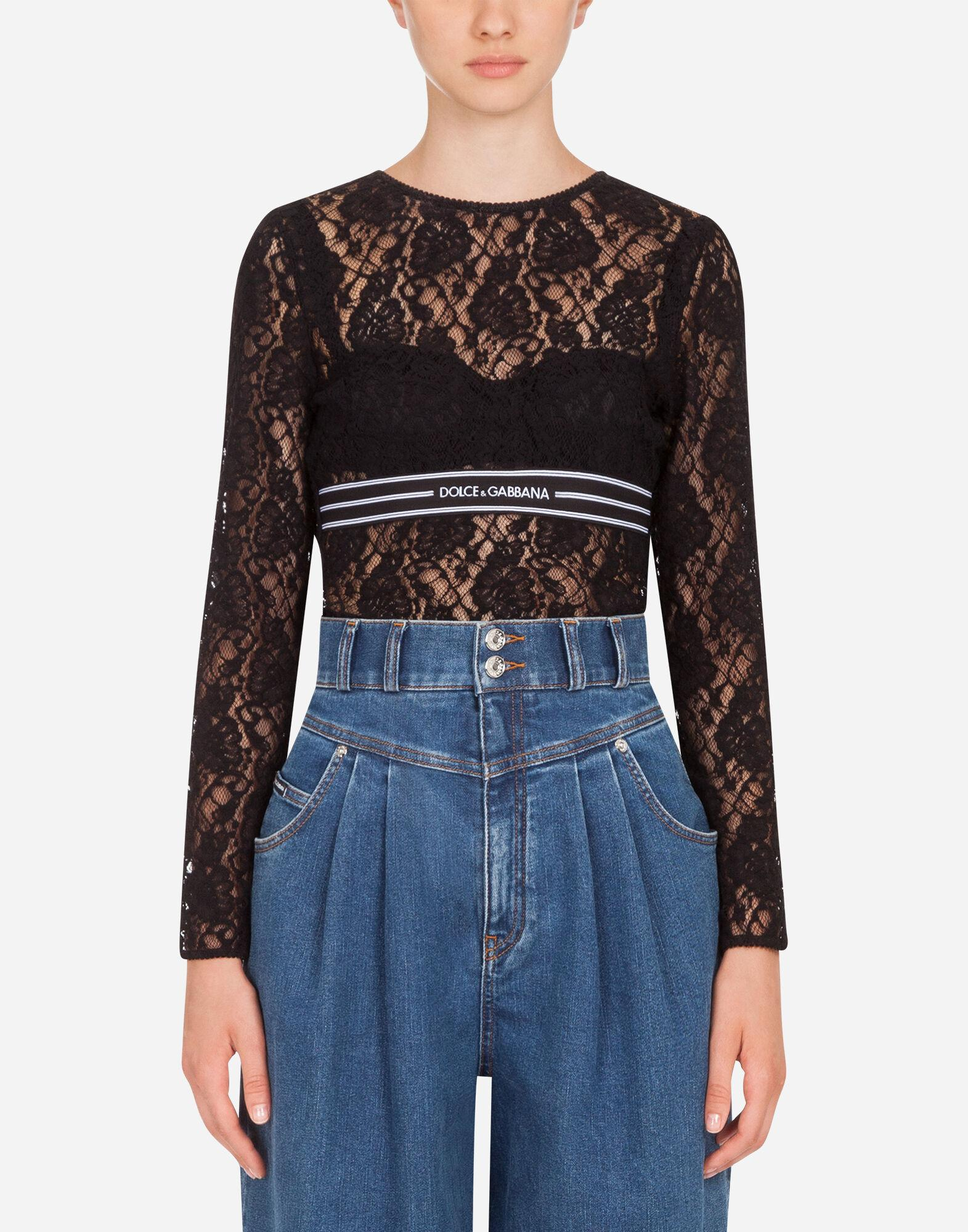 Long-sleeved lace top with branded elastic