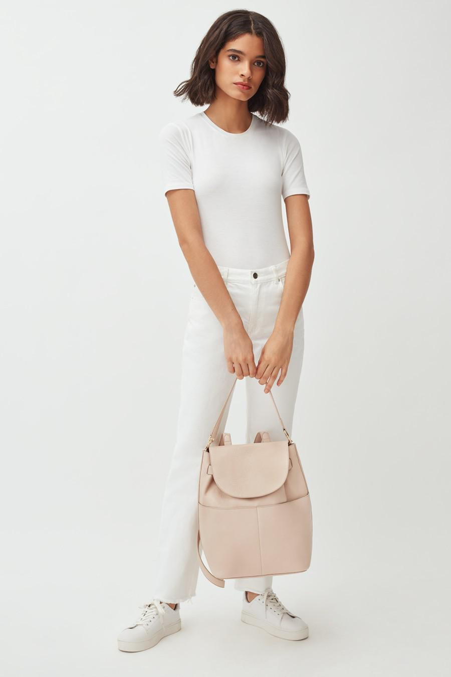 Women's Leather Backpack in Blush Pink | Pebbled Leather by Cuyana 5