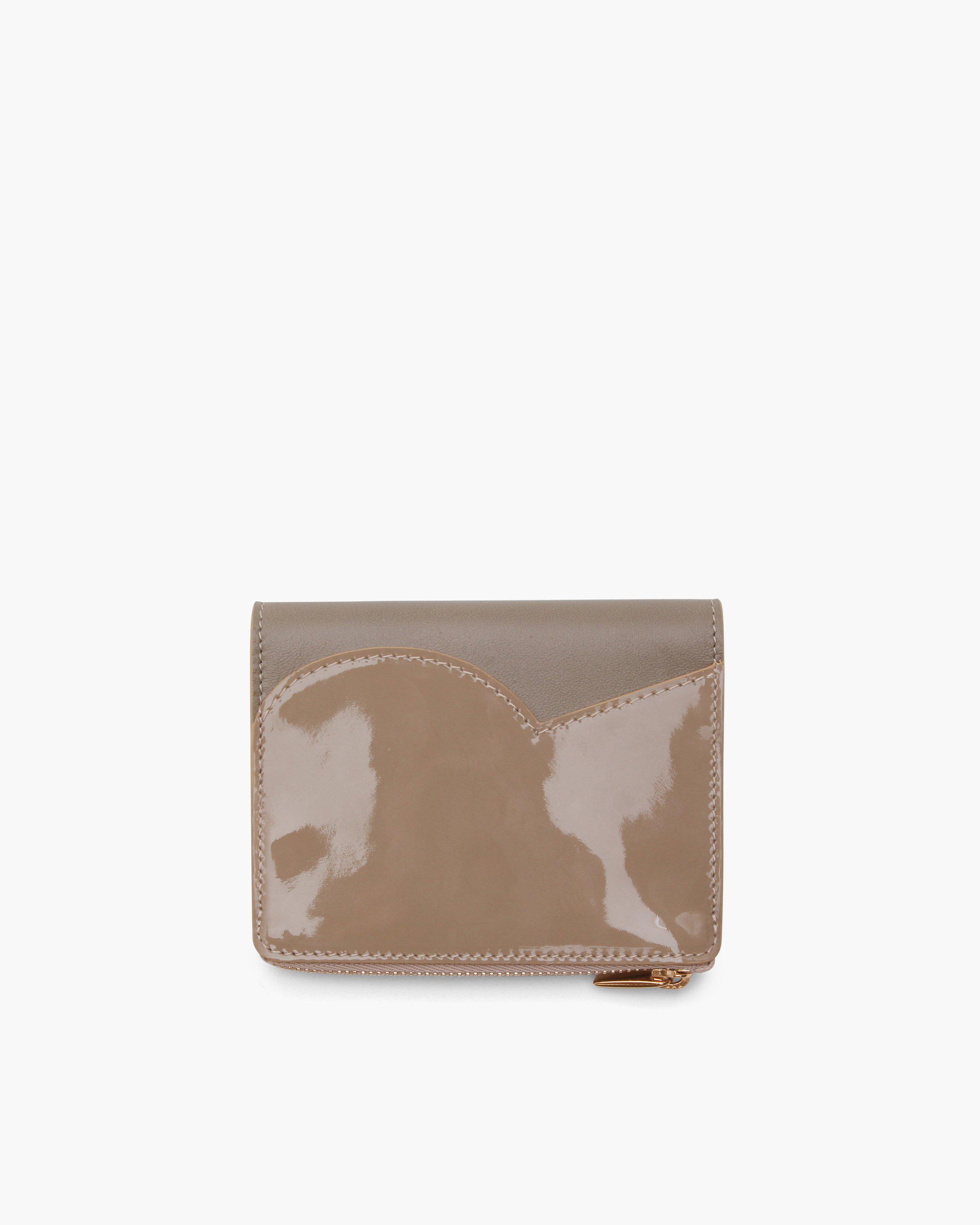 RP Zip Wallet Leather Patent Beige + Nappa Taupe