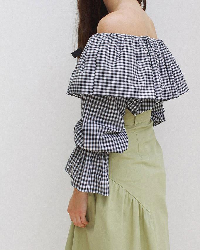 Clara Off-Shoulder Blouse Black & White Gingham - SPECIAL PRICE 1