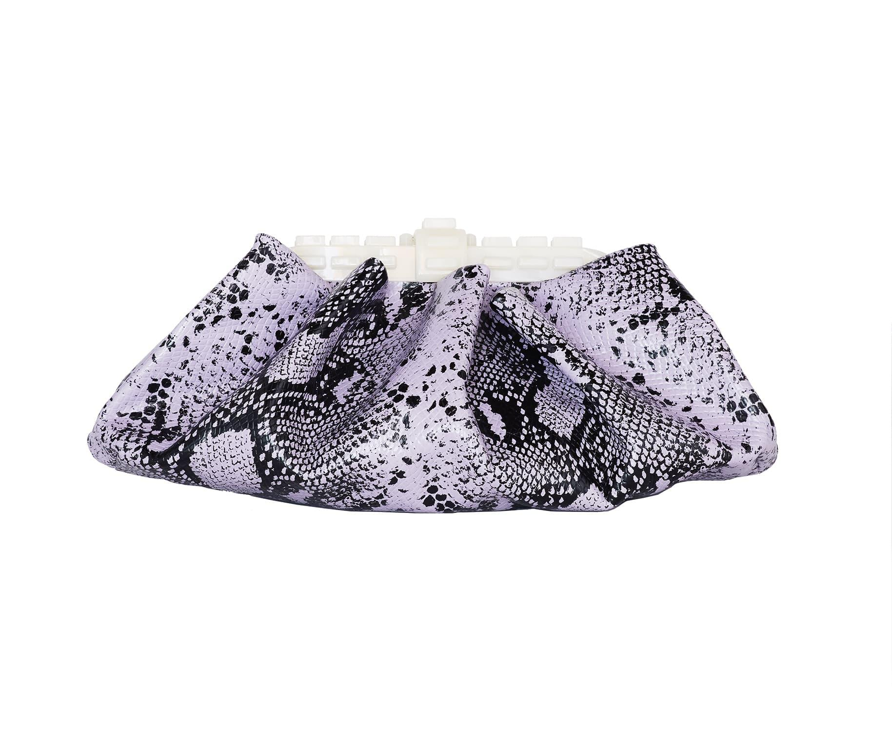 JERRY AMETHYST ICE EMBOSSED SNAKE GATHERED CLUTCH BAG