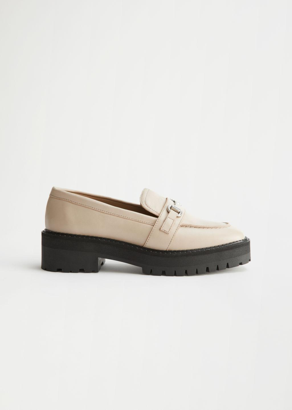 Buckled Chunky Leather Loafers