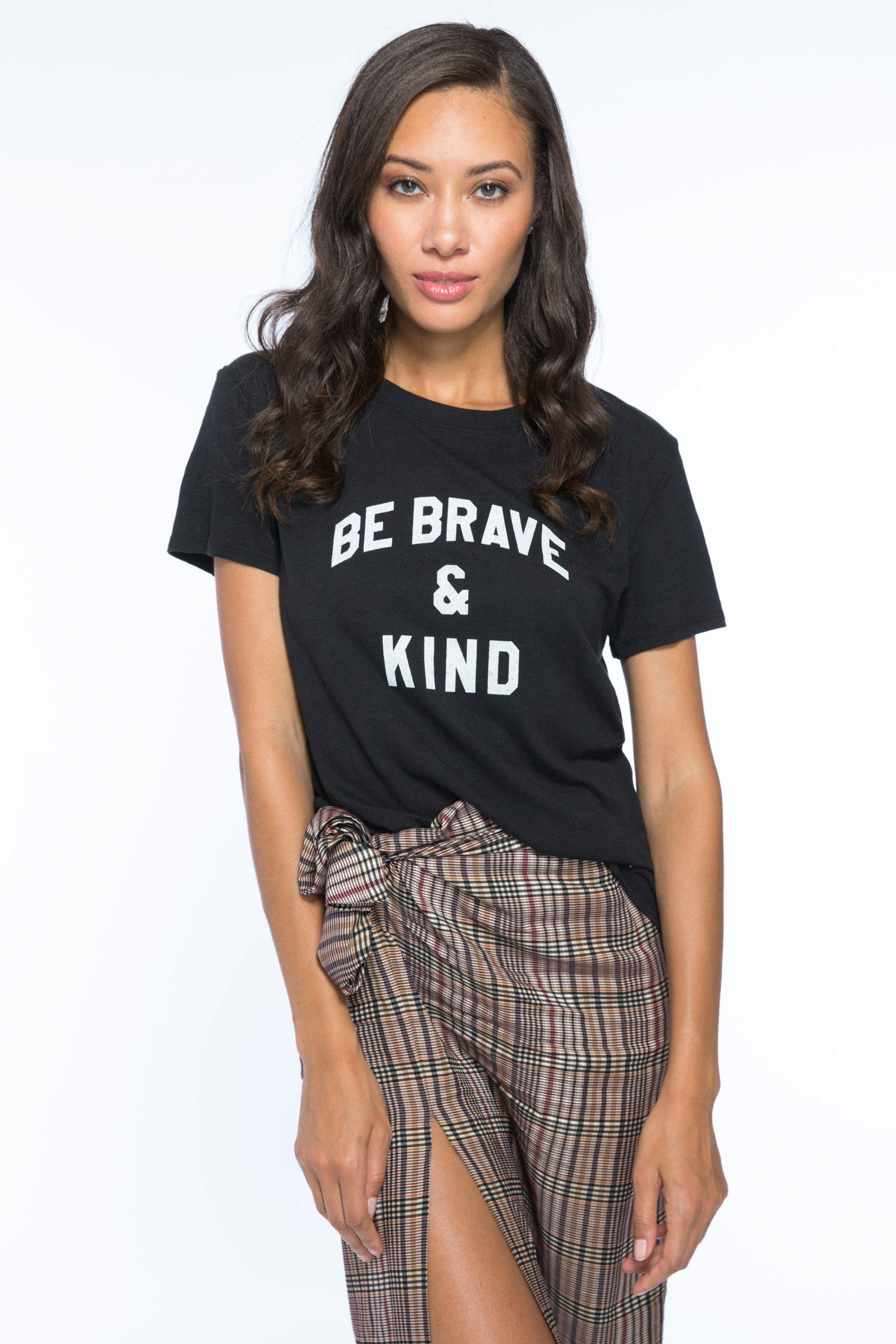 BE BRAVE AND KIND LOOSE TEE - BLACK
